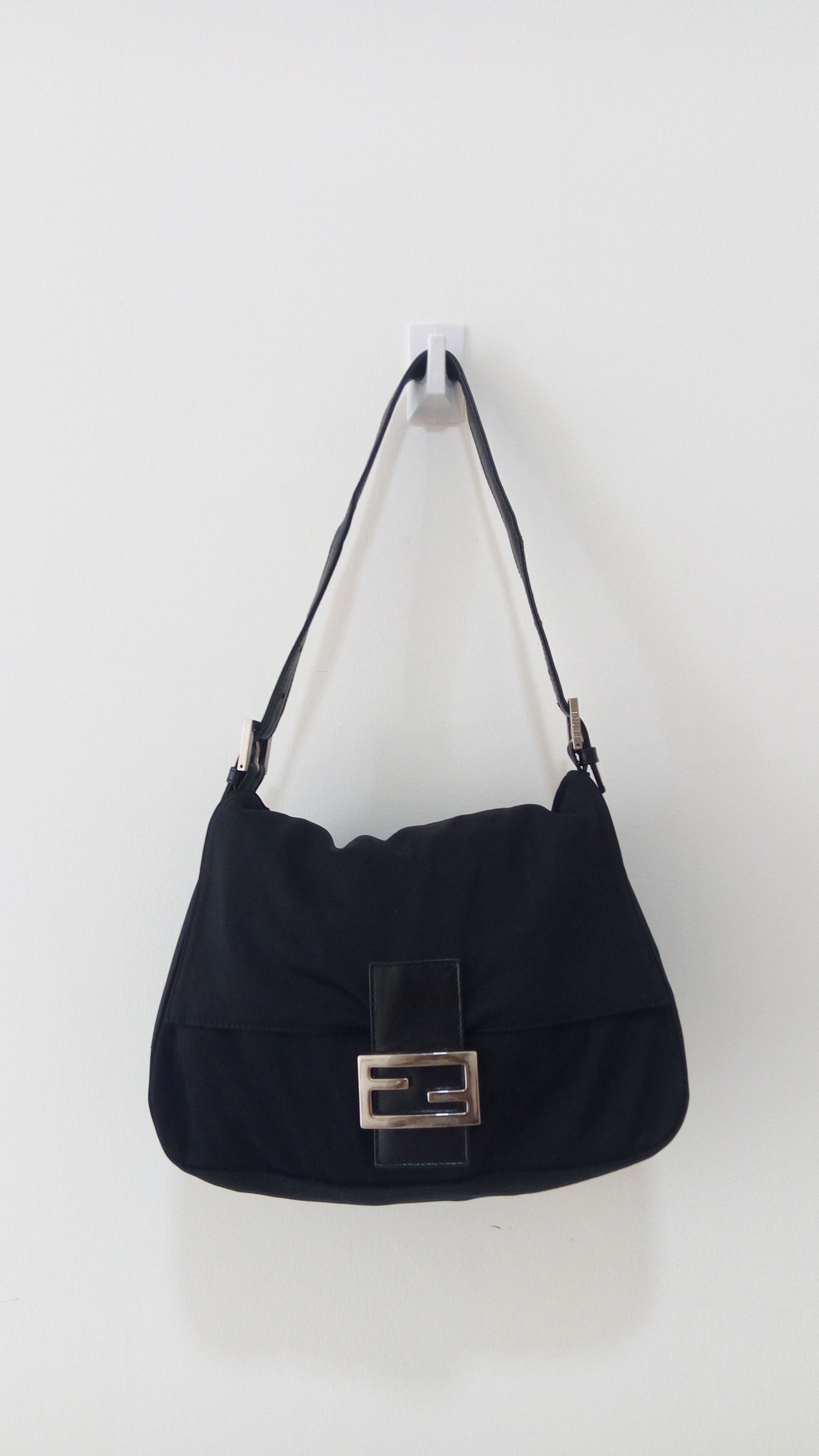 2d8ef1b46454 Fendi × Italian Designers. RARE!!!! Authentic FENDI black mama leather nylon  baguette bag ...