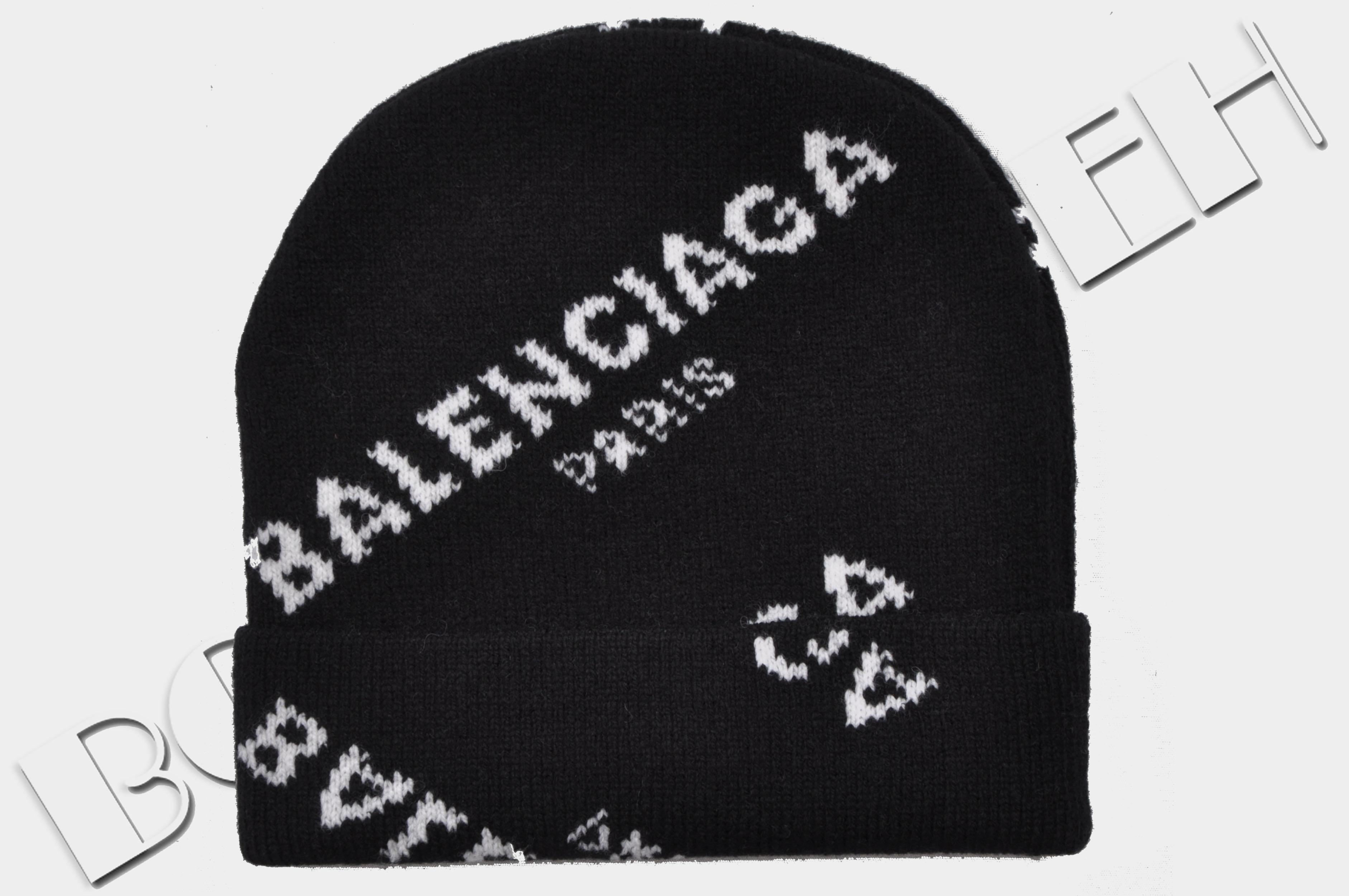 dcf483420a528 Balenciaga ×. 295  New Black Jacquard Logo Beanie Hat