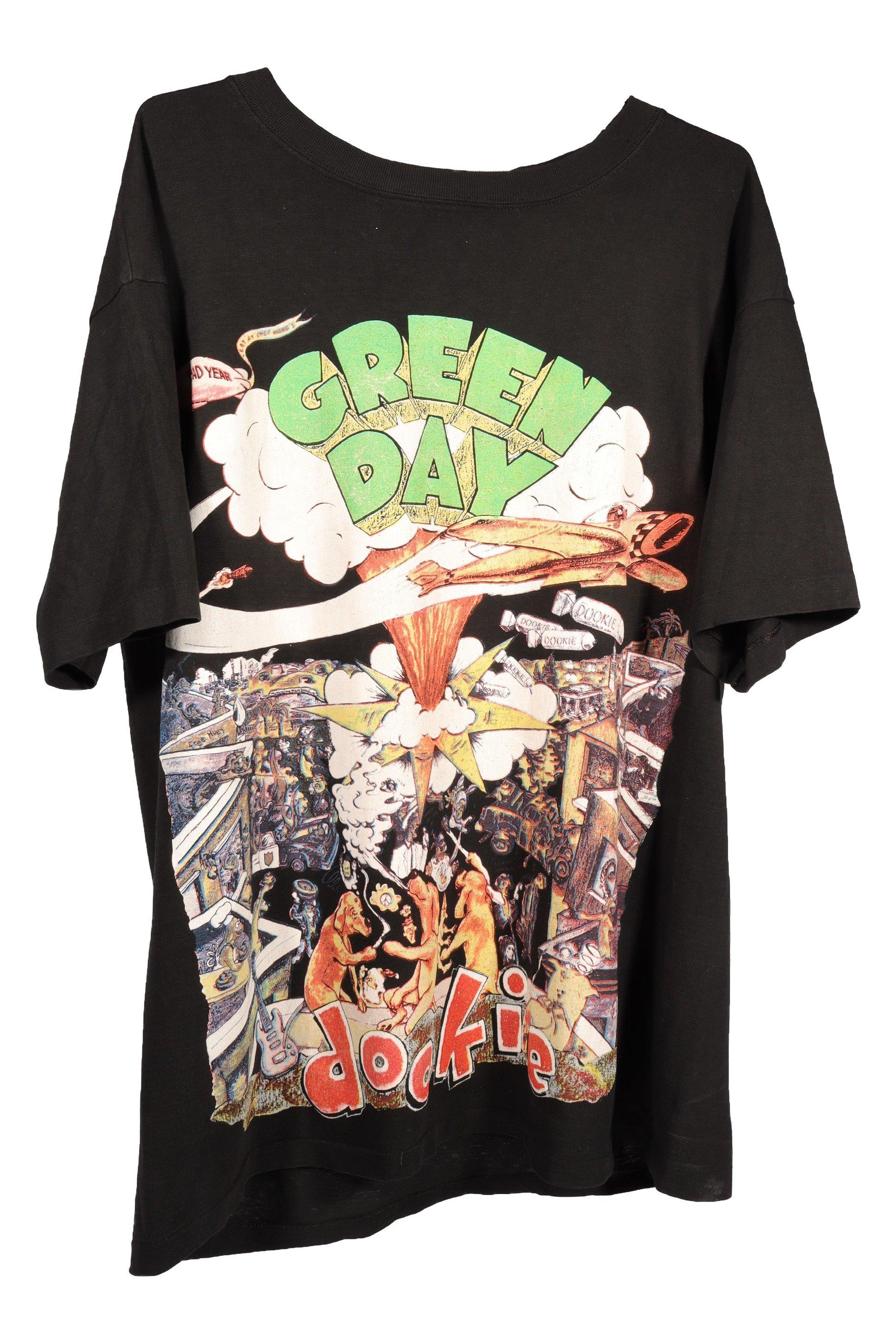 Vintage 90s Greenday Bootleg Dookies Album with portrait and Full lyric Album on rear print Shirt RARE!