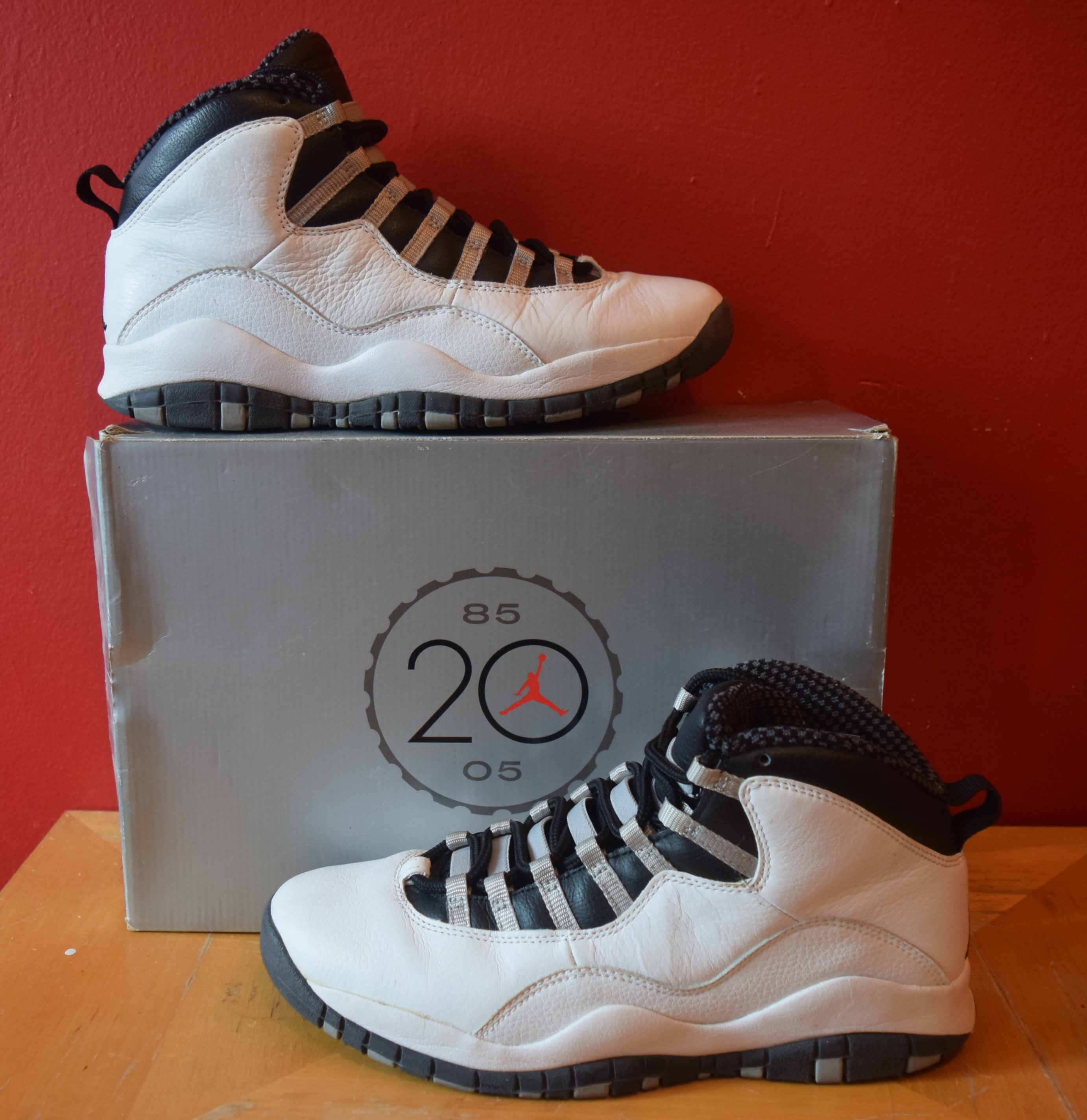d84deb9dd84 Jordan Brand Air Jordan 10 Retro White Steel Grey Black X's Size 9 ...