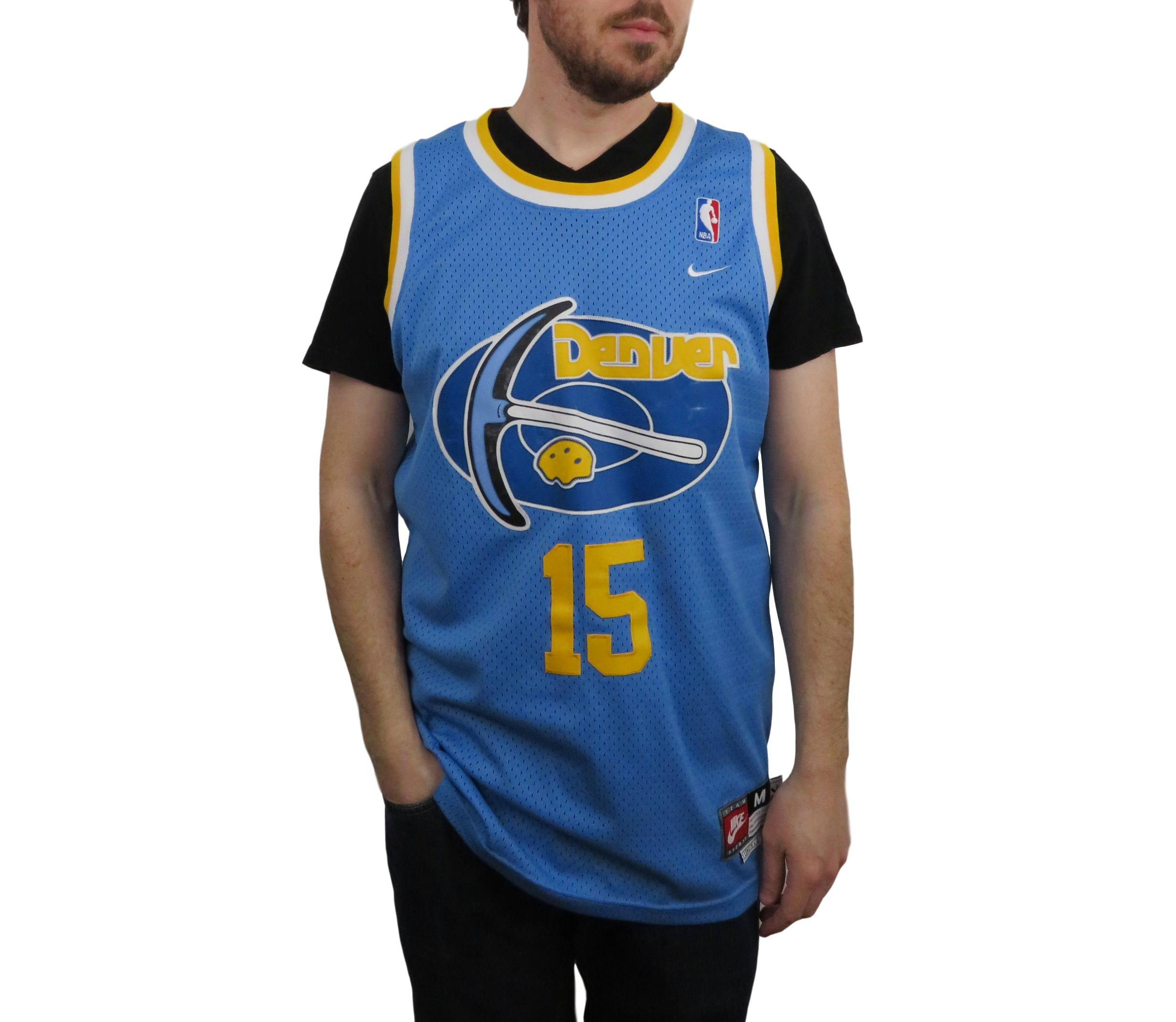 low priced ae42c 36b42 Vintage Fall 04 Nike Mens Carmelo Anthony Denver Nuggets NBA Jersey Medium  Rewind 76 Basketball Authentic Swingman Sewn Stiched Blue Yellow Retro ...
