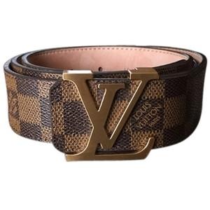 6607f8a01c8 MENS Coffee Damier print belt w/ bronze buckle