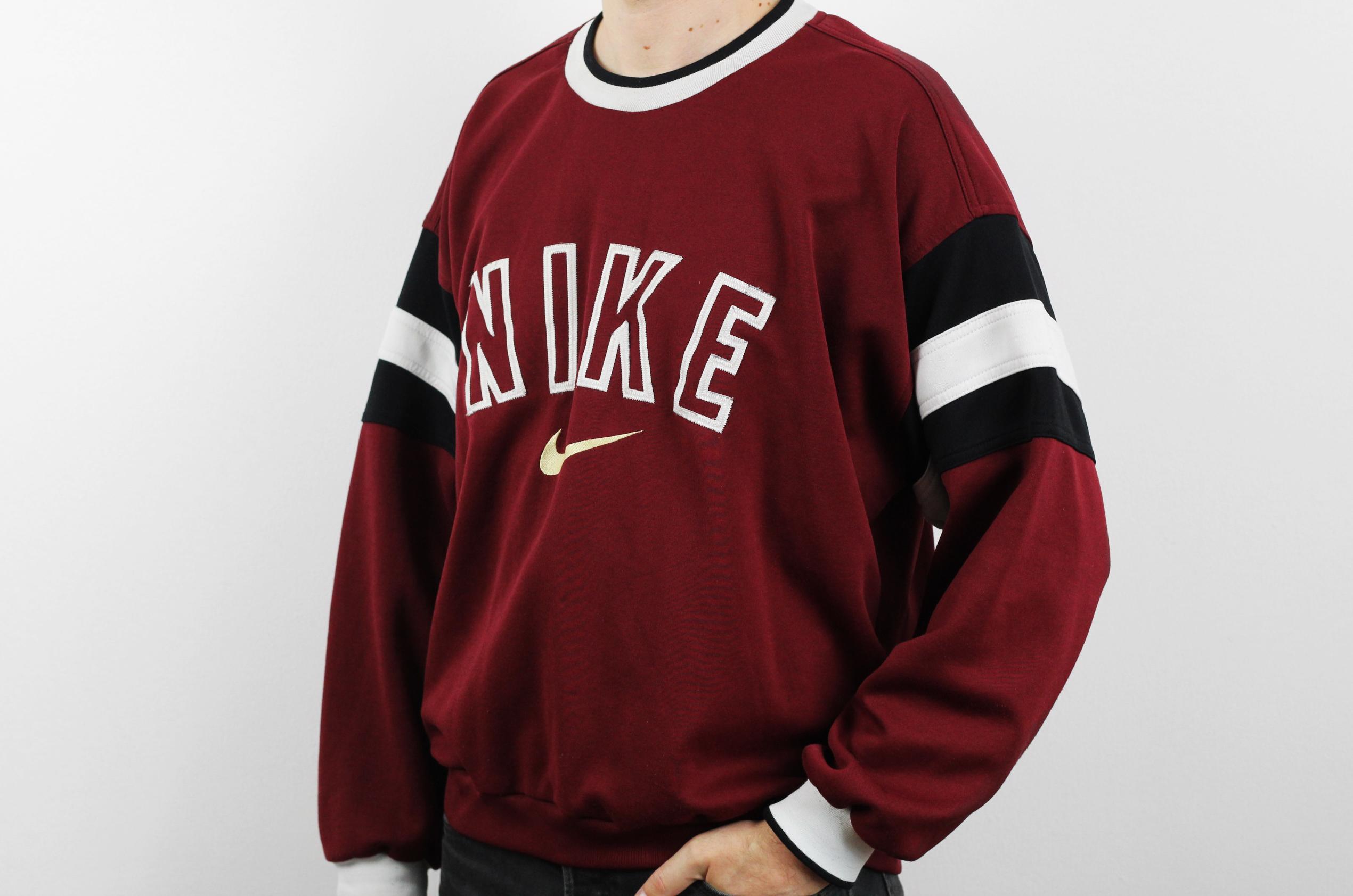 ff97fec7c Vintage ×. NIKE Swoosh sweatshirt / Mens burgundy longsleeves crewneck  jersey ...