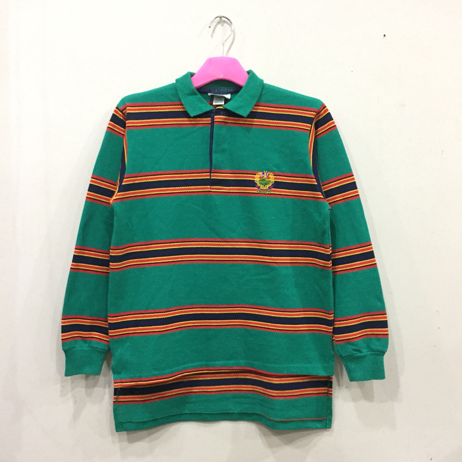 fd0d87b15 Vintage Lacoste Polo Shirt Long Sleeve Spell Out Embroidered Small Logo..  Horizontal Striped.. Multicolor.. Size L On Tag.. Fit To Small And Medium  Size.