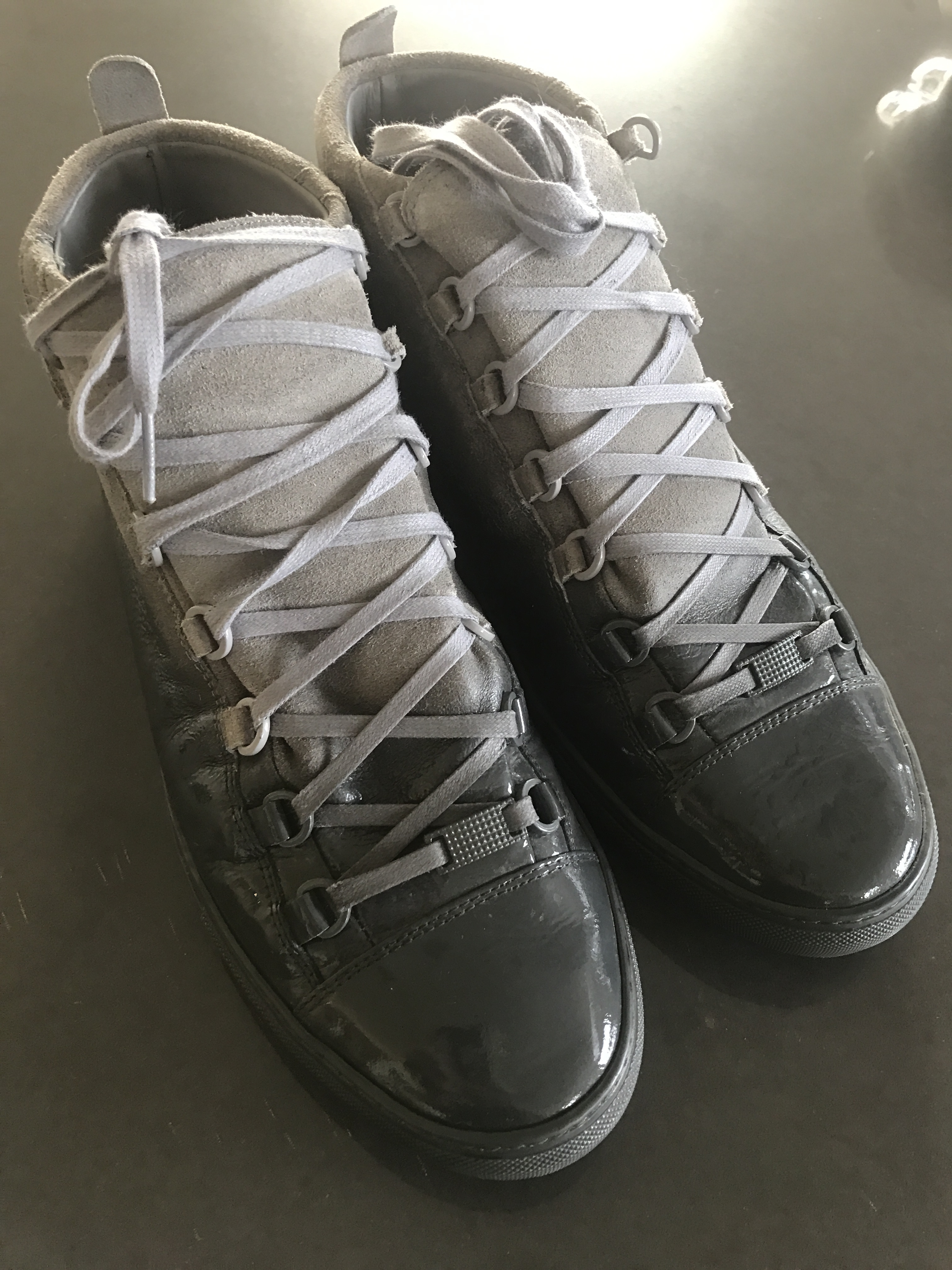 0fa04df192d0 Balenciaga Grey Suede   Patent Leather Ombre Leather Arena High Top ...