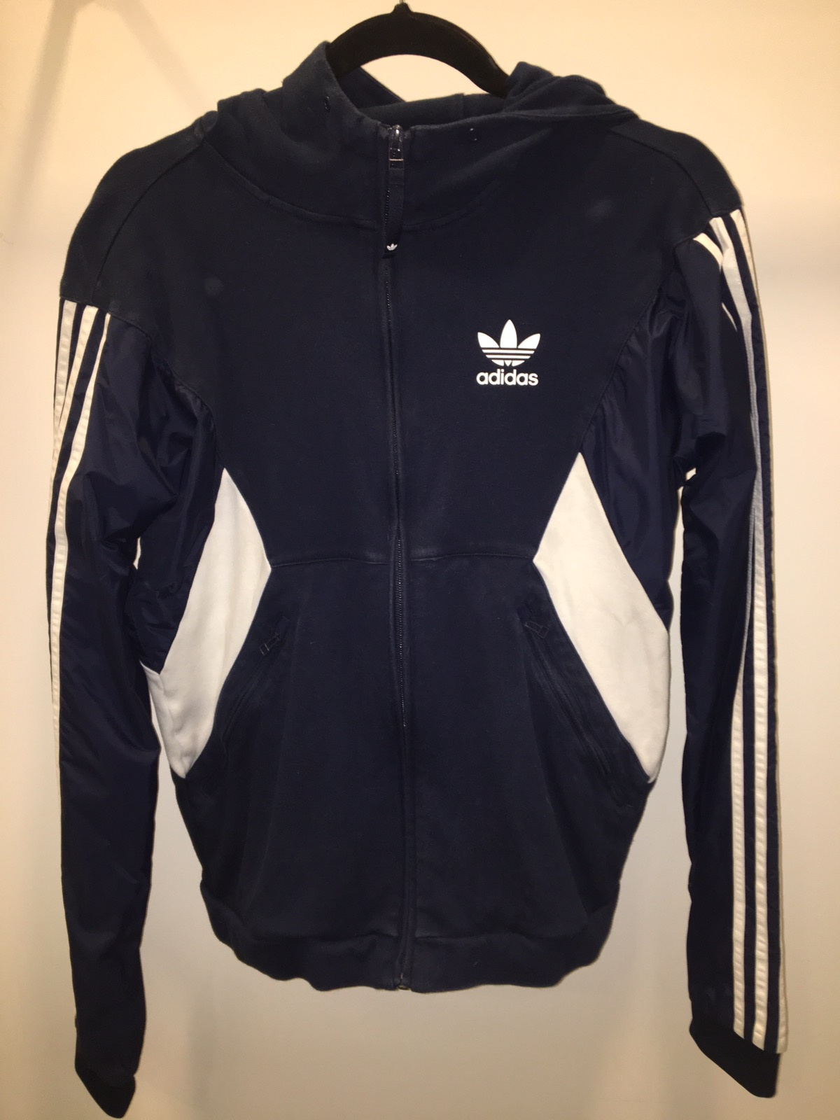 Black and blue adidas track jacket