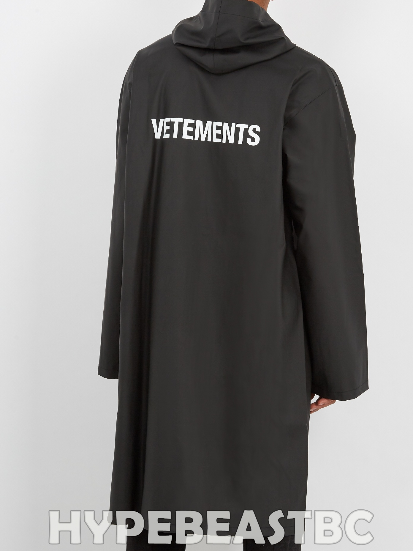 temperament shoes enjoy big discount newest style of VETEMENTS Logo Oversized Hooded Hoodie Raincoat Coat Jacket, One Size,  Black, NWT