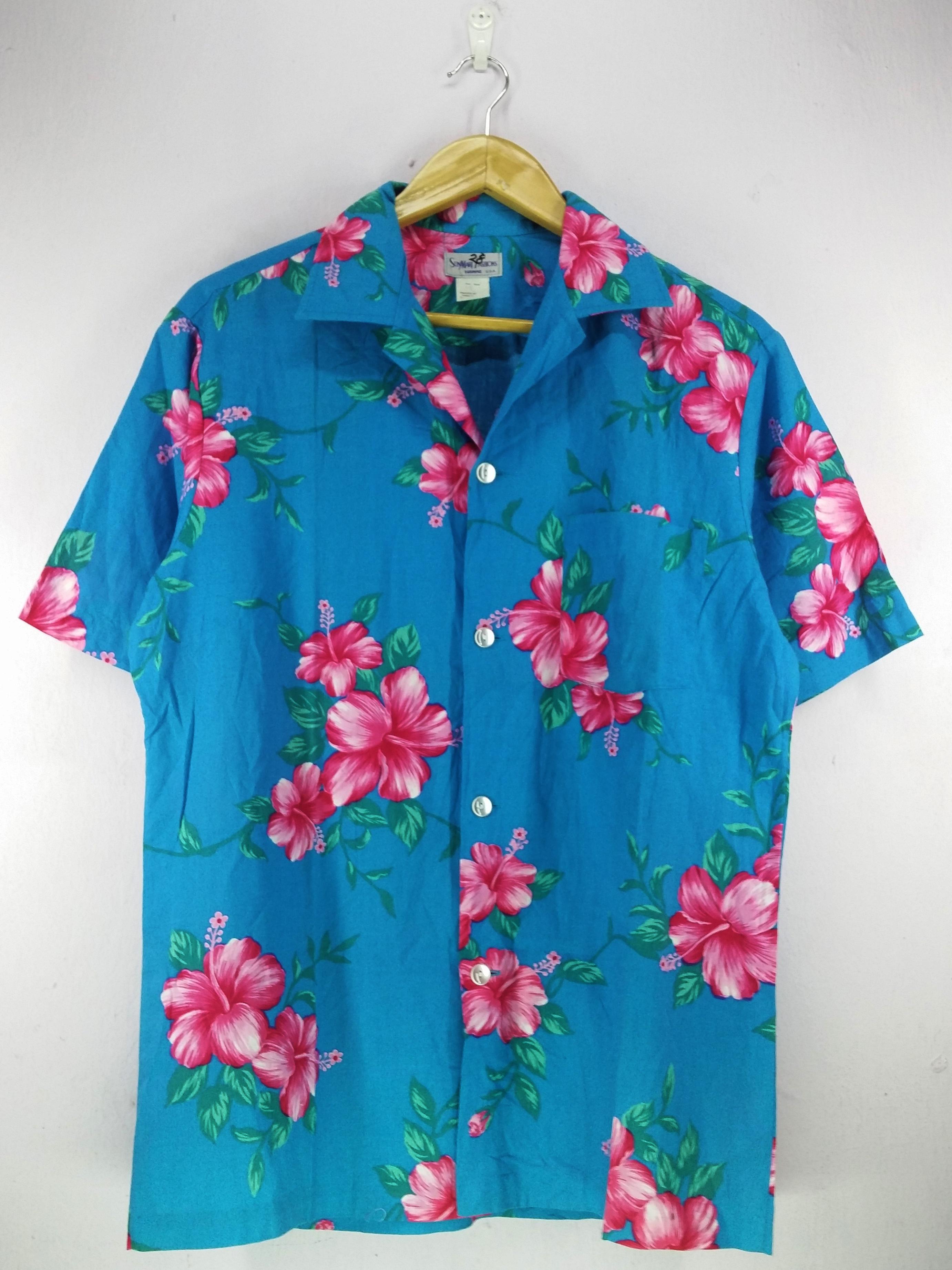 2a4f682c Made In Hawaii × Hawaiian Shirt ×. Sun Mart Hawaii Hibiscus Tropical Ocean  Blue Pattern Abstract Hawaiian Shirt Buttons Up Hawaii Surf ...