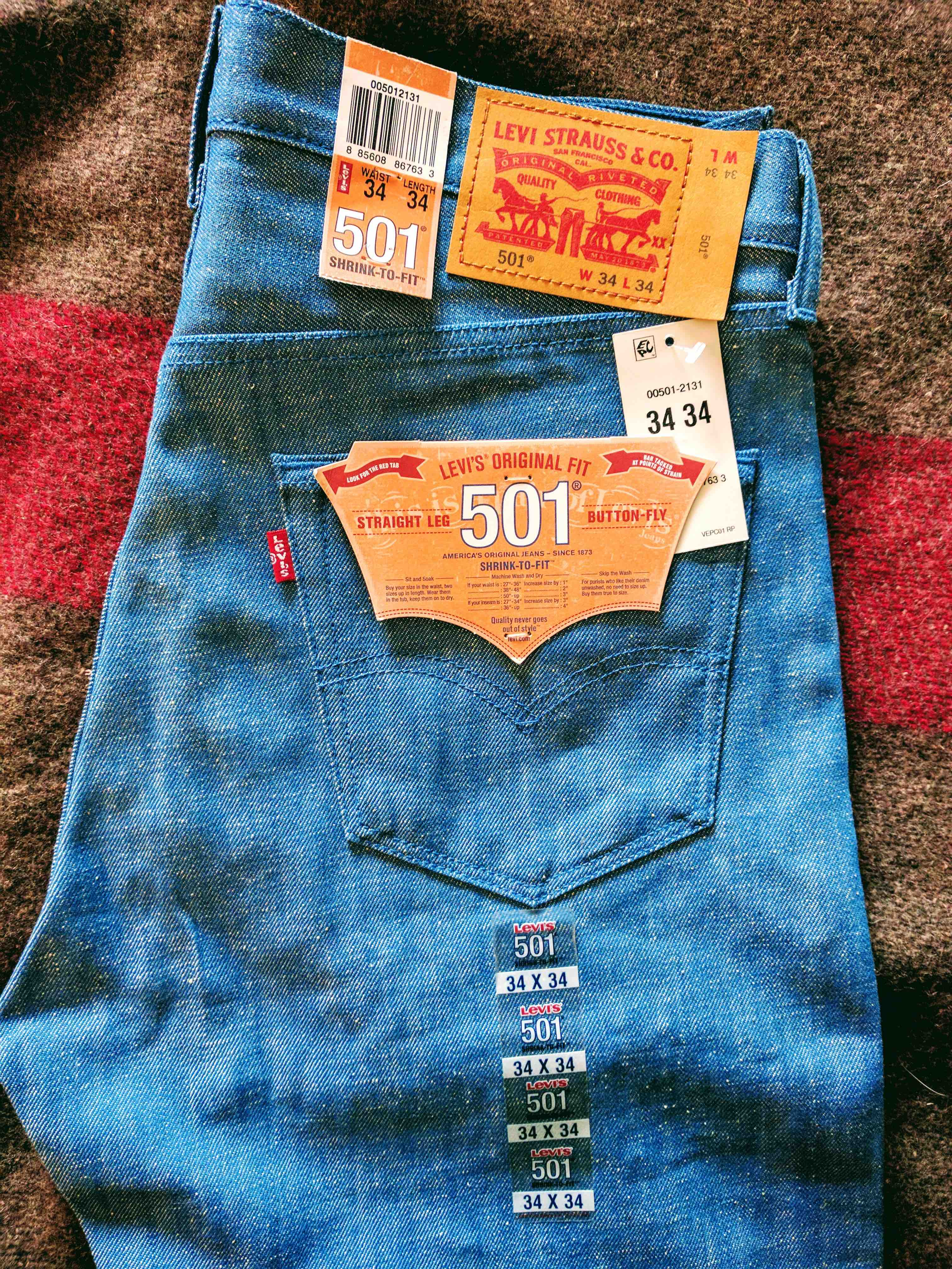 105e376a Levi's New Levis 501 Unwashed White Oak Cone Mills Supper Neppy ...