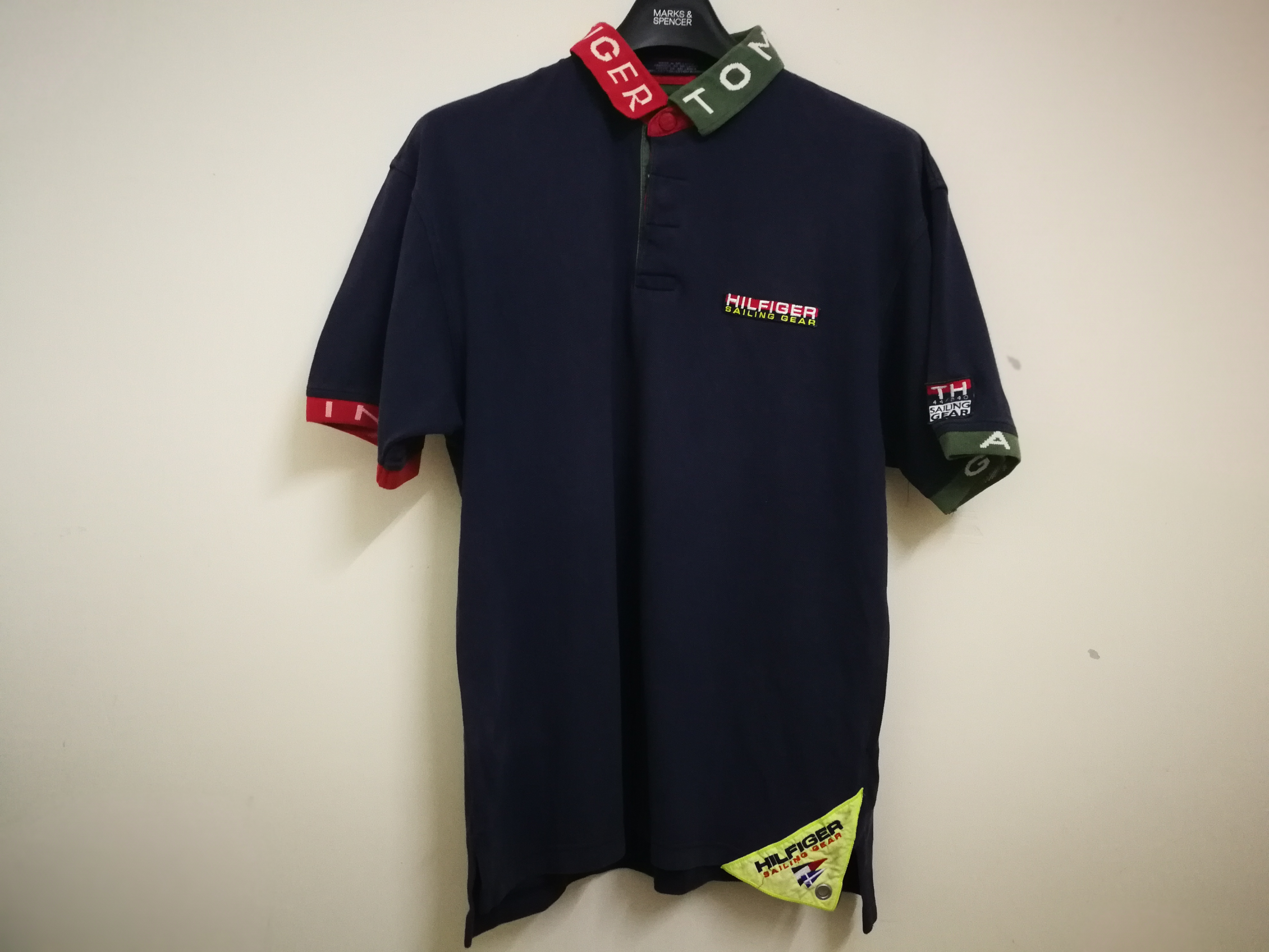 a6e10f82 Vintage Vtg Tommy Hilfiger Sailing Gear Polo Shirt Blue Navy Spell ...