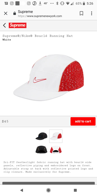 804404872 Supreme®/Nike® Air Tailwind Bouclé Running Hat