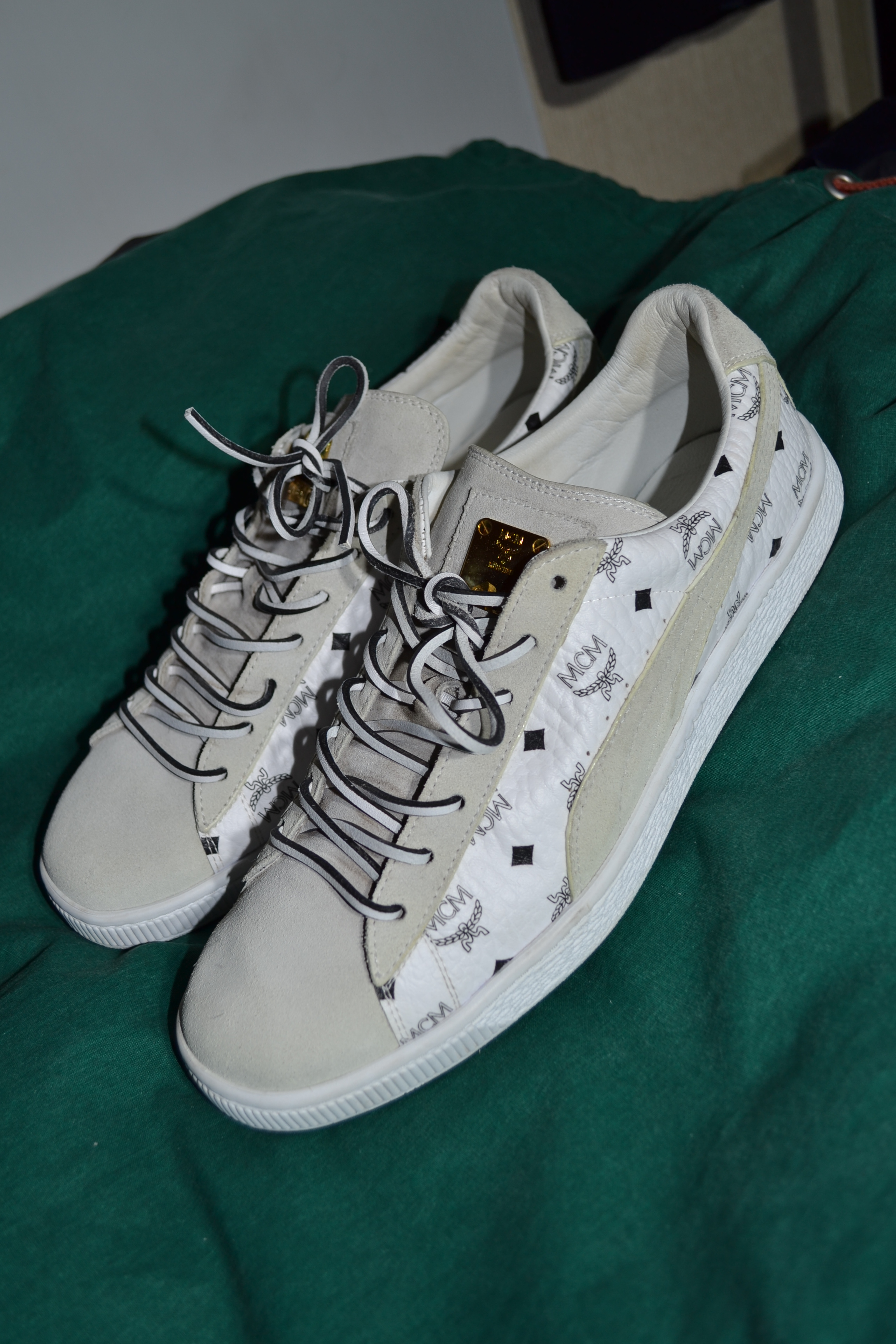 new concept b26a7 355e8 Rare Puma x MCM White Leather Made in Italy Suede Sneakers Shoes Limited  Edition Monogram 10 UK 11 US
