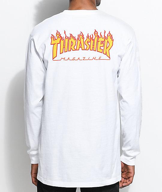 Thrasher Long Sleeve white Thrasher X Vans