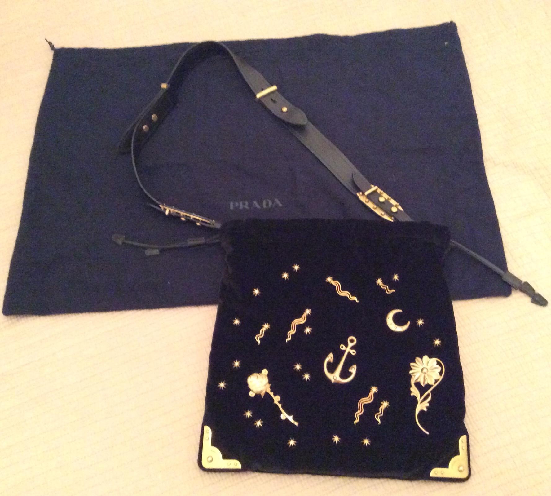 c8d660ad06b2 Prada Cahier Astrology Velvet Shoulder Bag, Black   Grailed