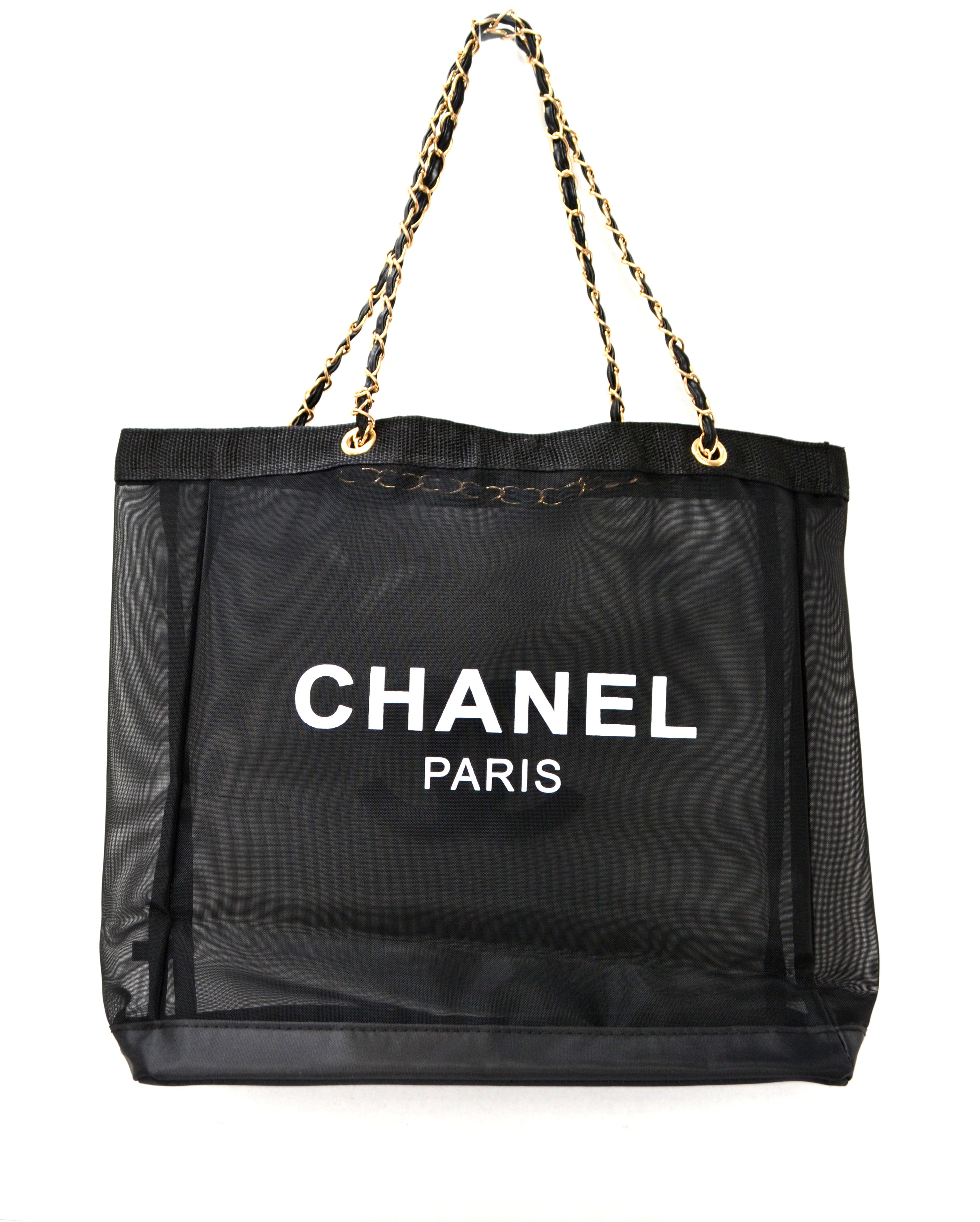 86457cf540f3 Chanel New Chanel Mesh Tote Shopper Beach Bag Gold Tone Chain Vip ...