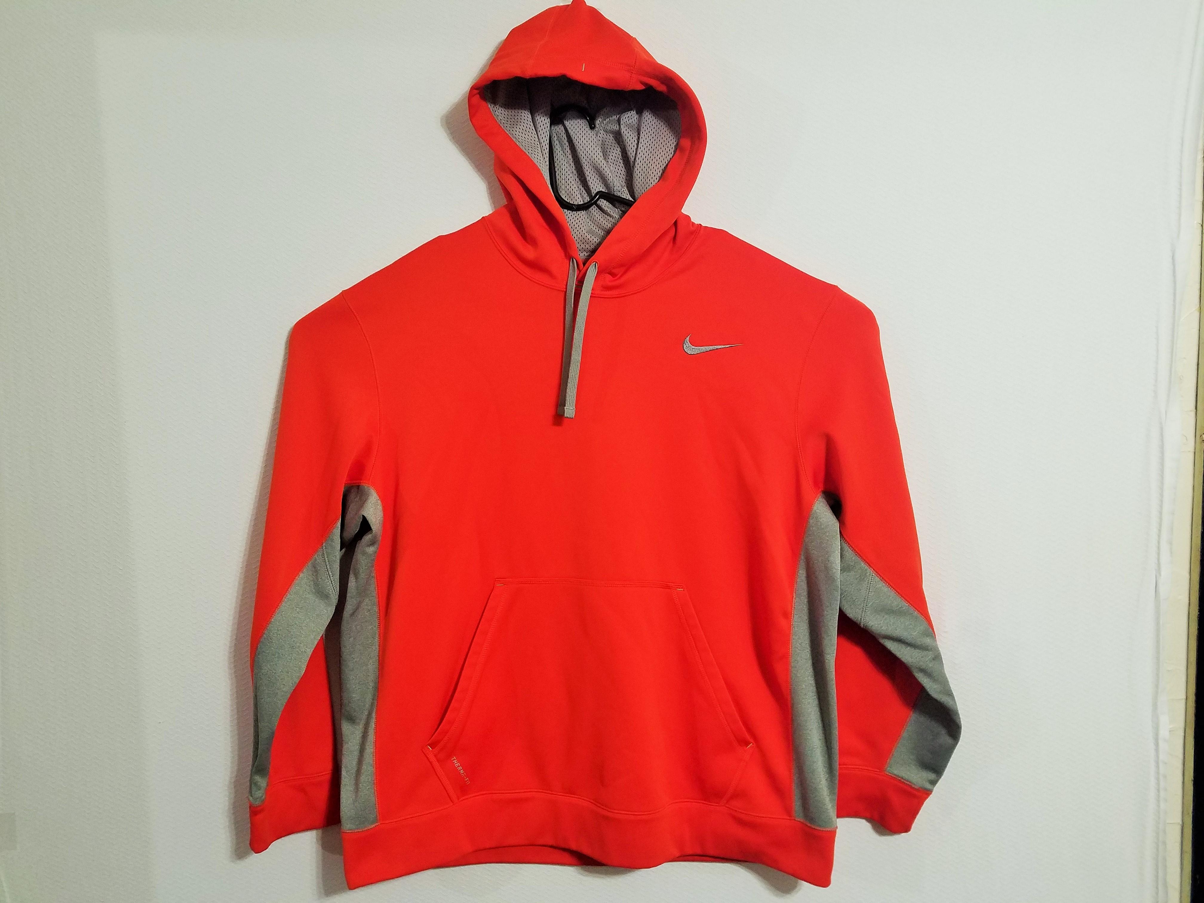 Nike Men's XXL Therma Fit Bright Orange & Grey Hoodie 2XL Hooded Sweatshirt 2X Thermafit