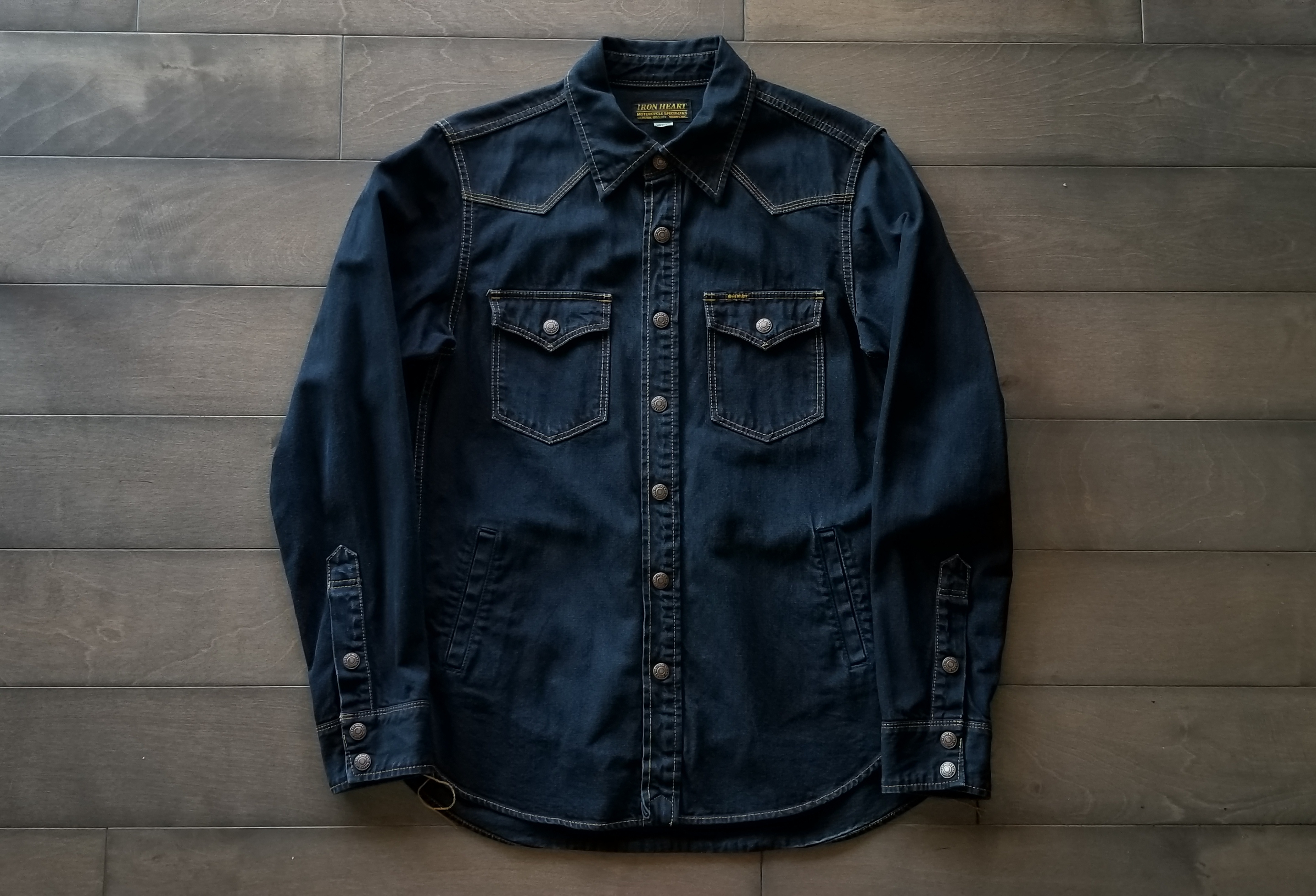 483be535f97 Iron Heart Overdyed Black 11.5oz Denim Overshirt W  Hand Pockets ...