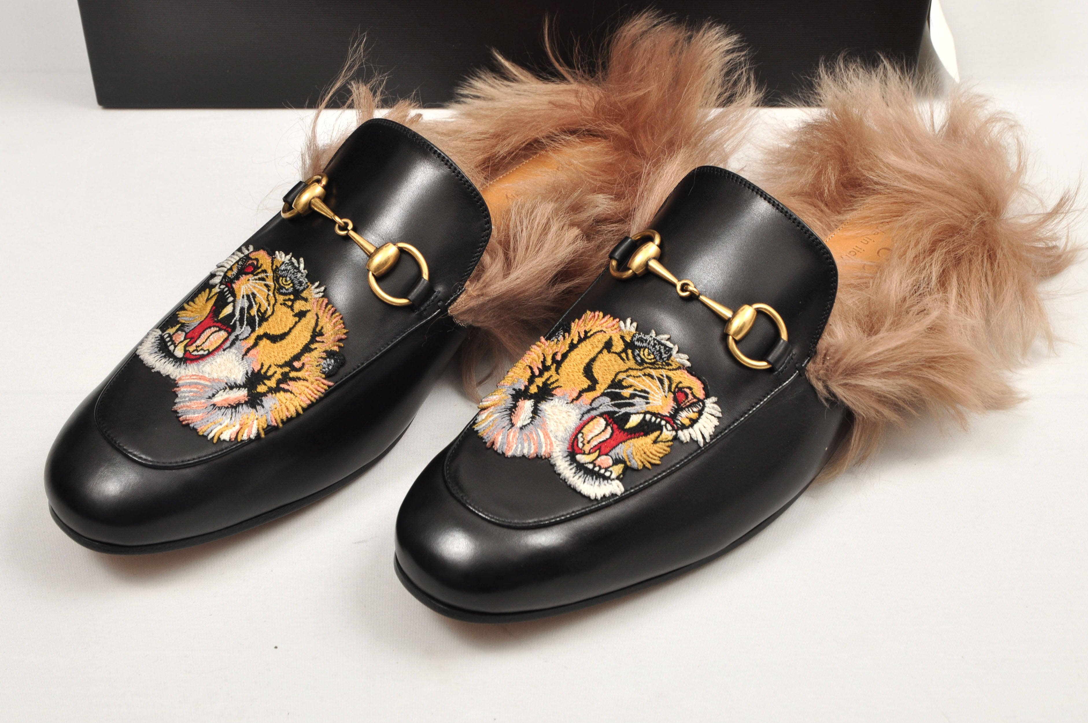 c352d6781 Gucci ×. Princetown Black Leather Fur Lined Tiger Embroidery Sandals. Size:  US 8.5 / EU 41-42