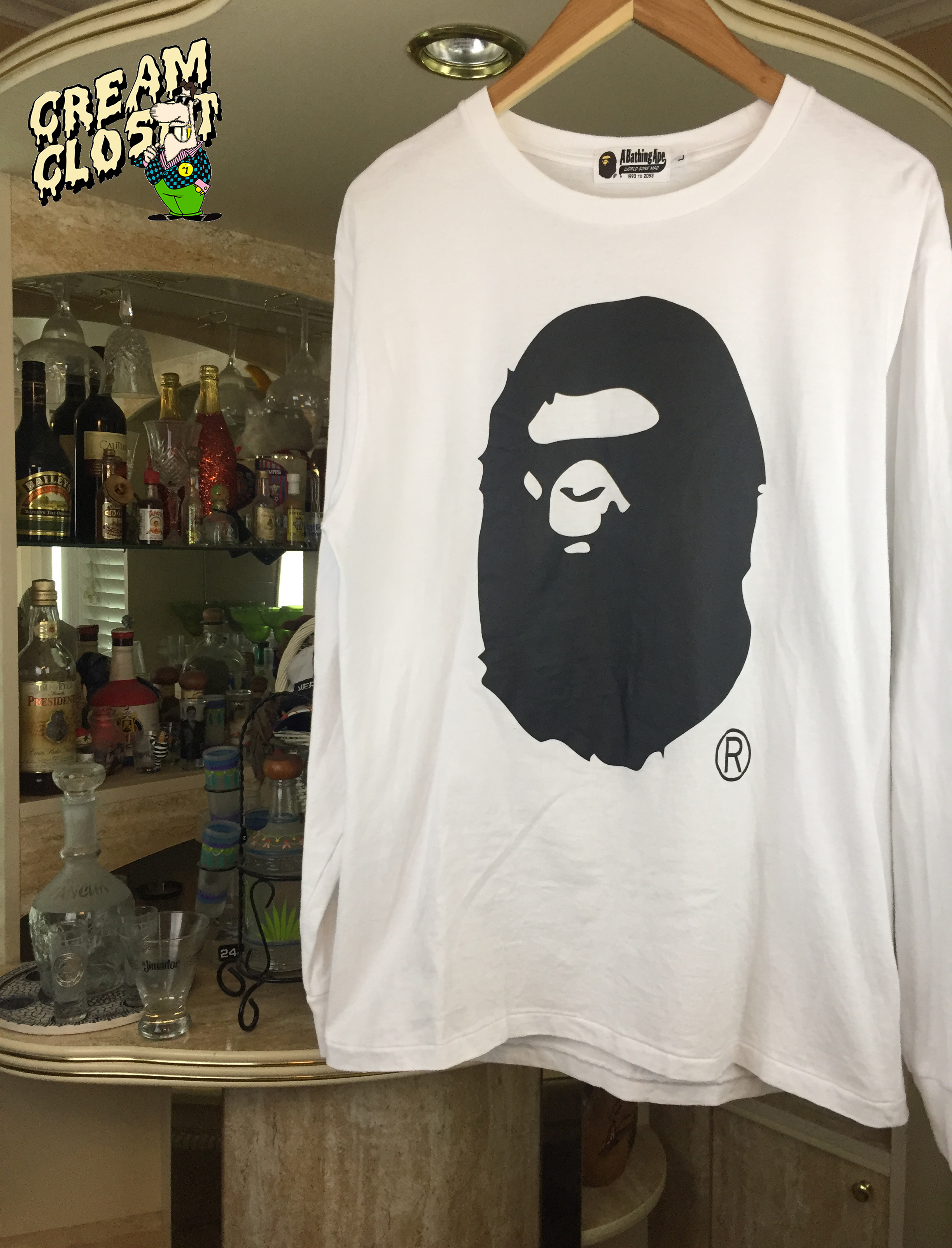 4fb85ee06813 Bape ×. BAPE A BATHING APE BIG APE HEAD LOGO LONG SLEEVE TEE IN WHITE BLACK.  Size: US L / EU 52-54 ...