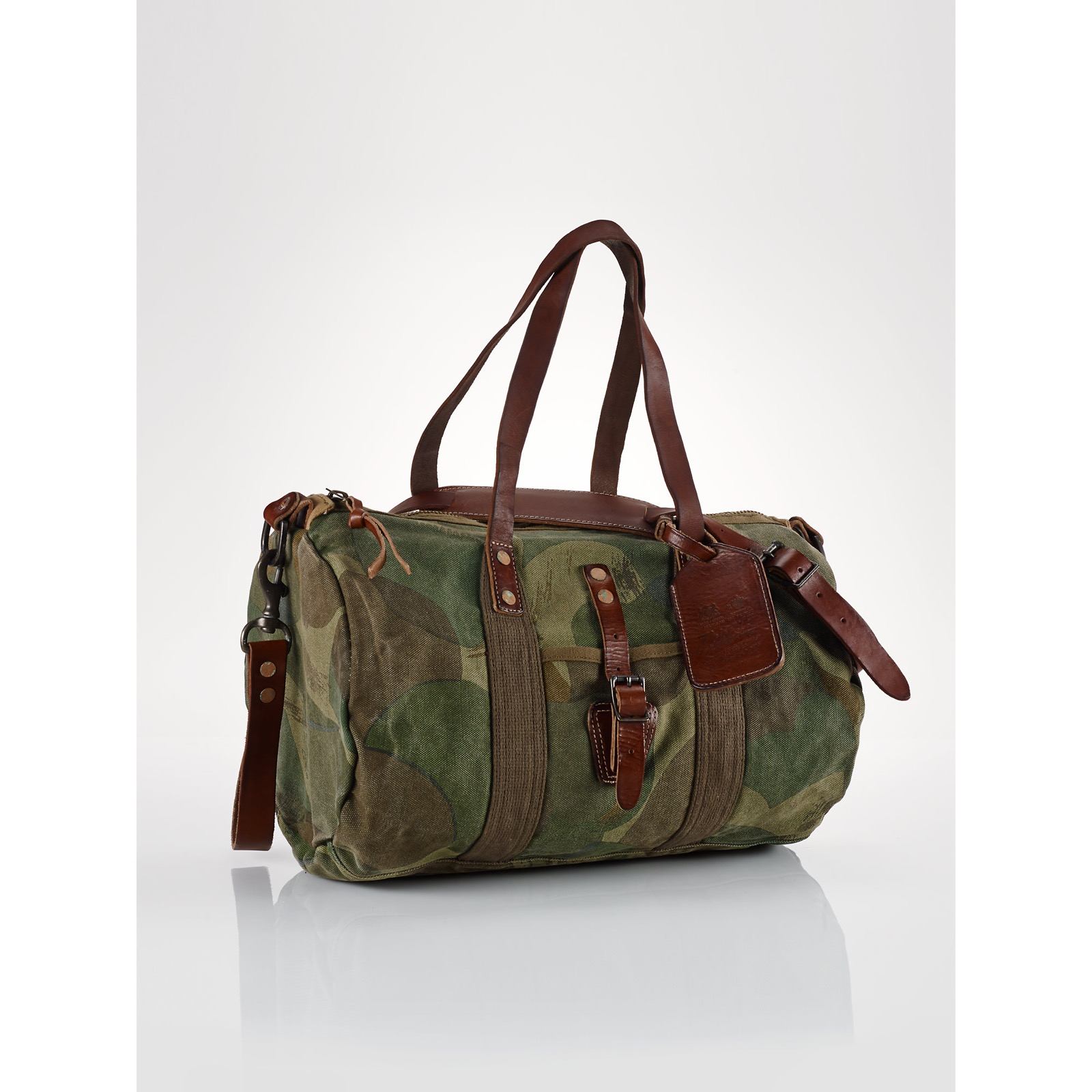 bcbc65bddf Polo Ralph Lauren Camo Canvas Leather Gym Duffle Bag Size one size - Bags    Luggage for Sale - Grailed