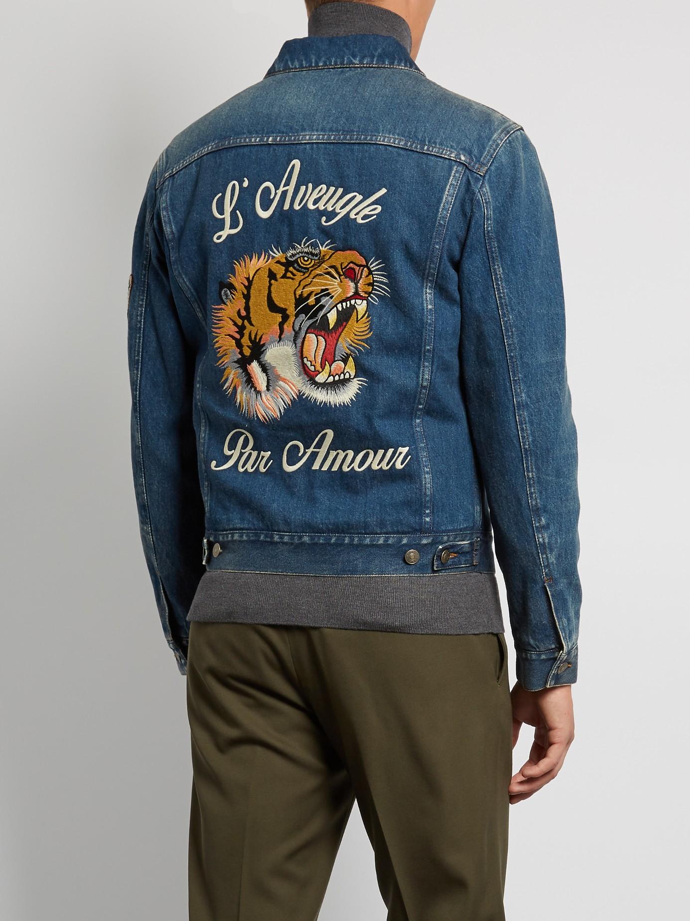 38b18b314 Gucci Gucci Tiger-embroidered Denim Jacket   Grailed