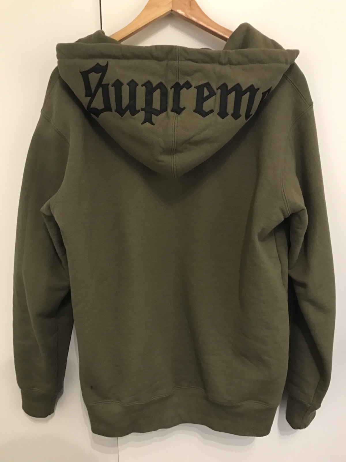 deb220c40e5e Supreme Old English Font Logo Hoodie (Olive Green) Size l - Sweatshirts    Hoodies for Sale - Grailed