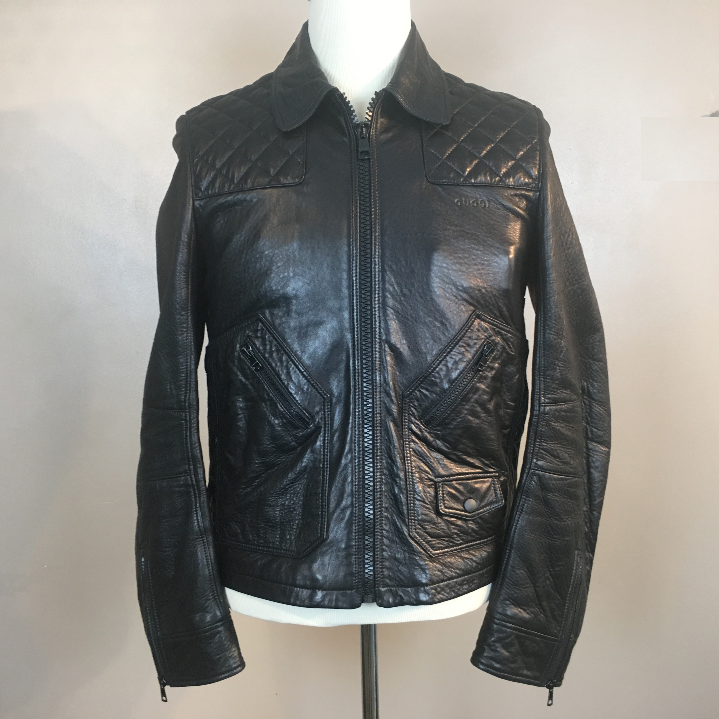 f0e63eb8a9c Gucci Gucci Black Leather Diamond Quilted Shoulder Biker Jacket ...