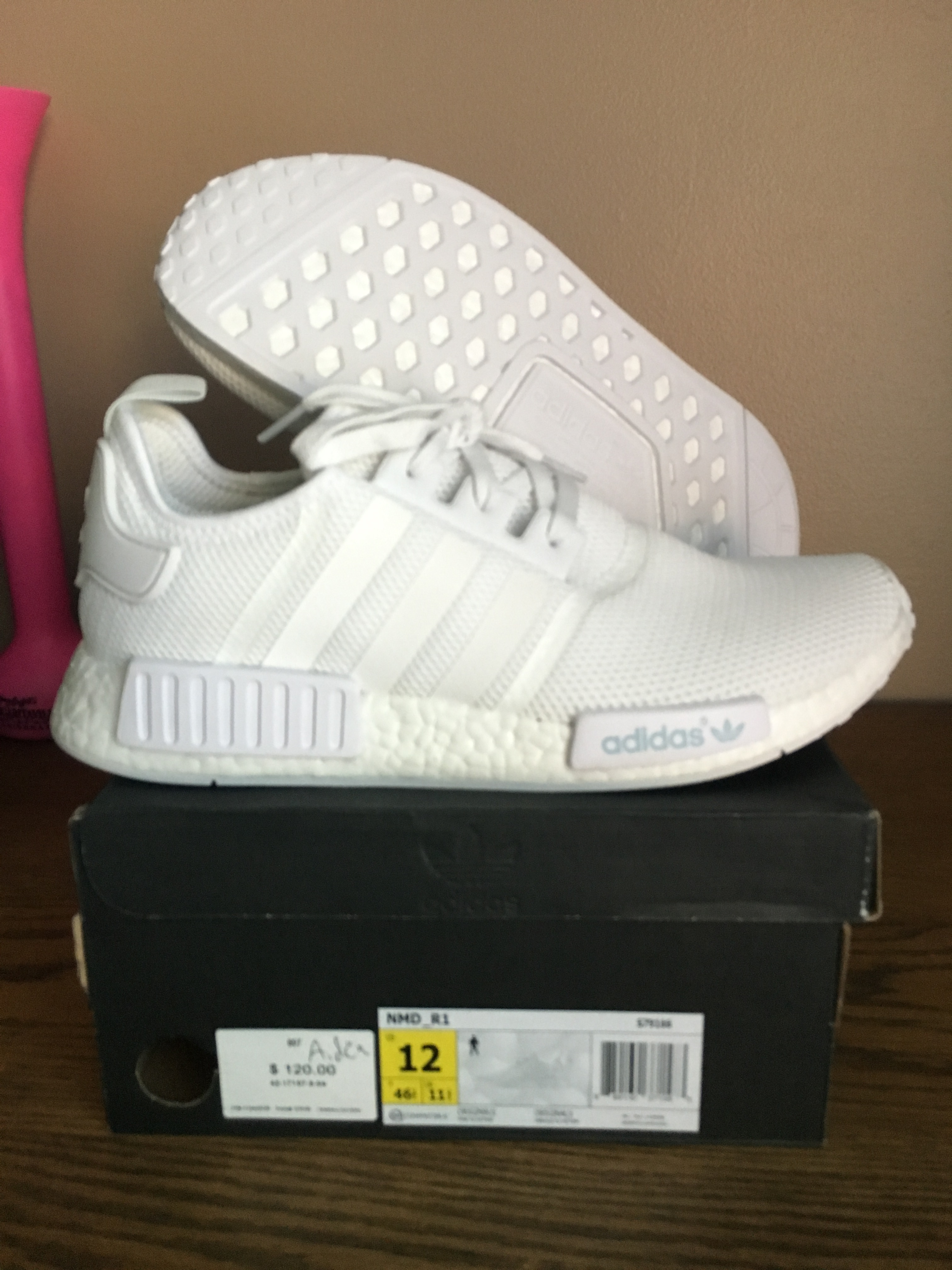 a6ff8c14938c6 Adidas ×. ADIDAS NMD R1 MESH S79166 TRIPLE WHITE RUNNER MEN S 12 NOMAD  BOOST CORE. Size  US ...