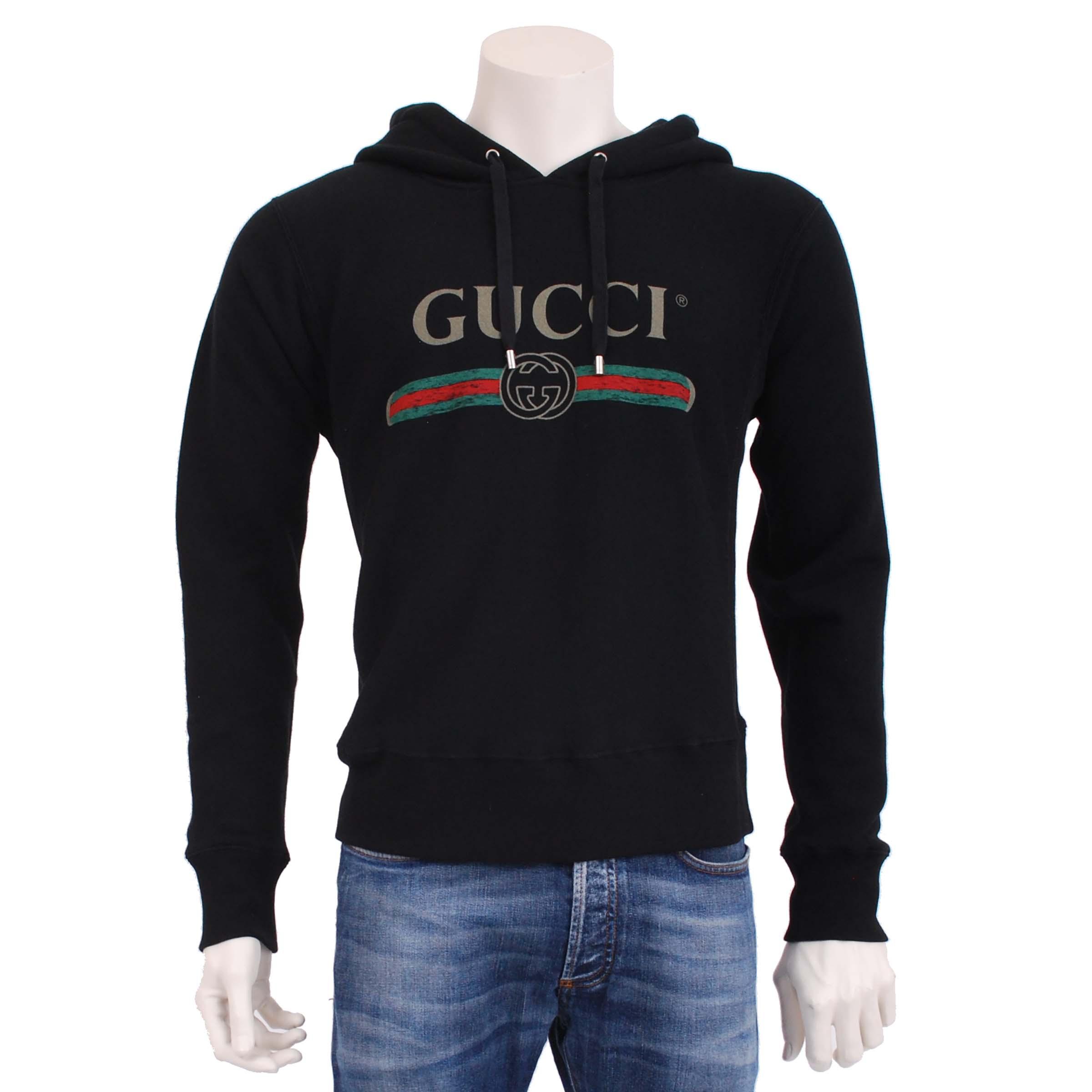 c7797f47f0d6 Gucci Black Cotton Gucci Logo Print Hooded Sweatshirt | Grailed