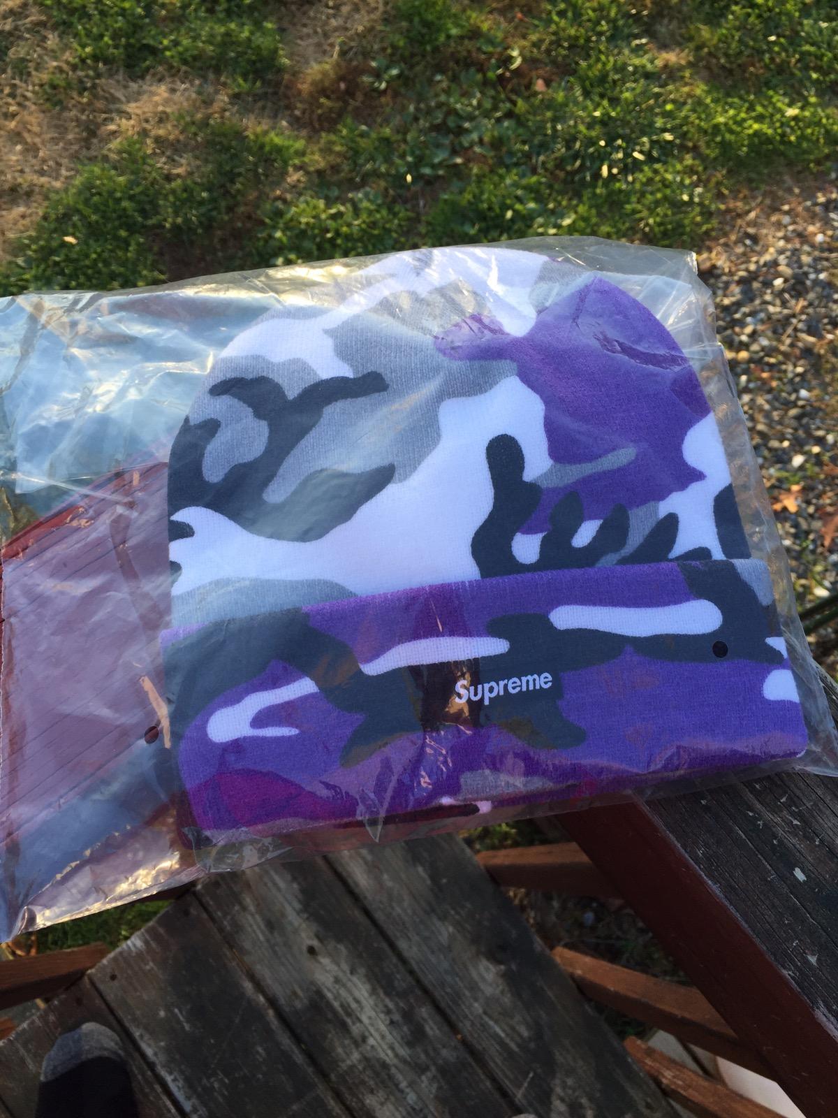 96de2747818 Supreme Purple Camo Beanie Size one size - Hats for Sale - Grailed
