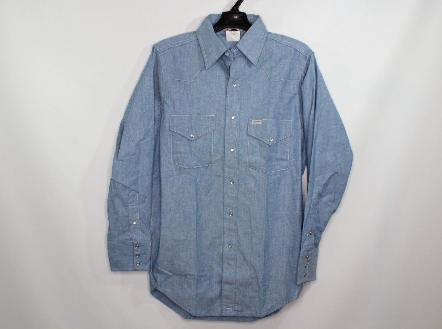 19bf2841002 Vintage × Carhartt. Vintage 80s New Carhartt Mens 15.5 33 Chambray Western  Pearl Snap Button Shirt