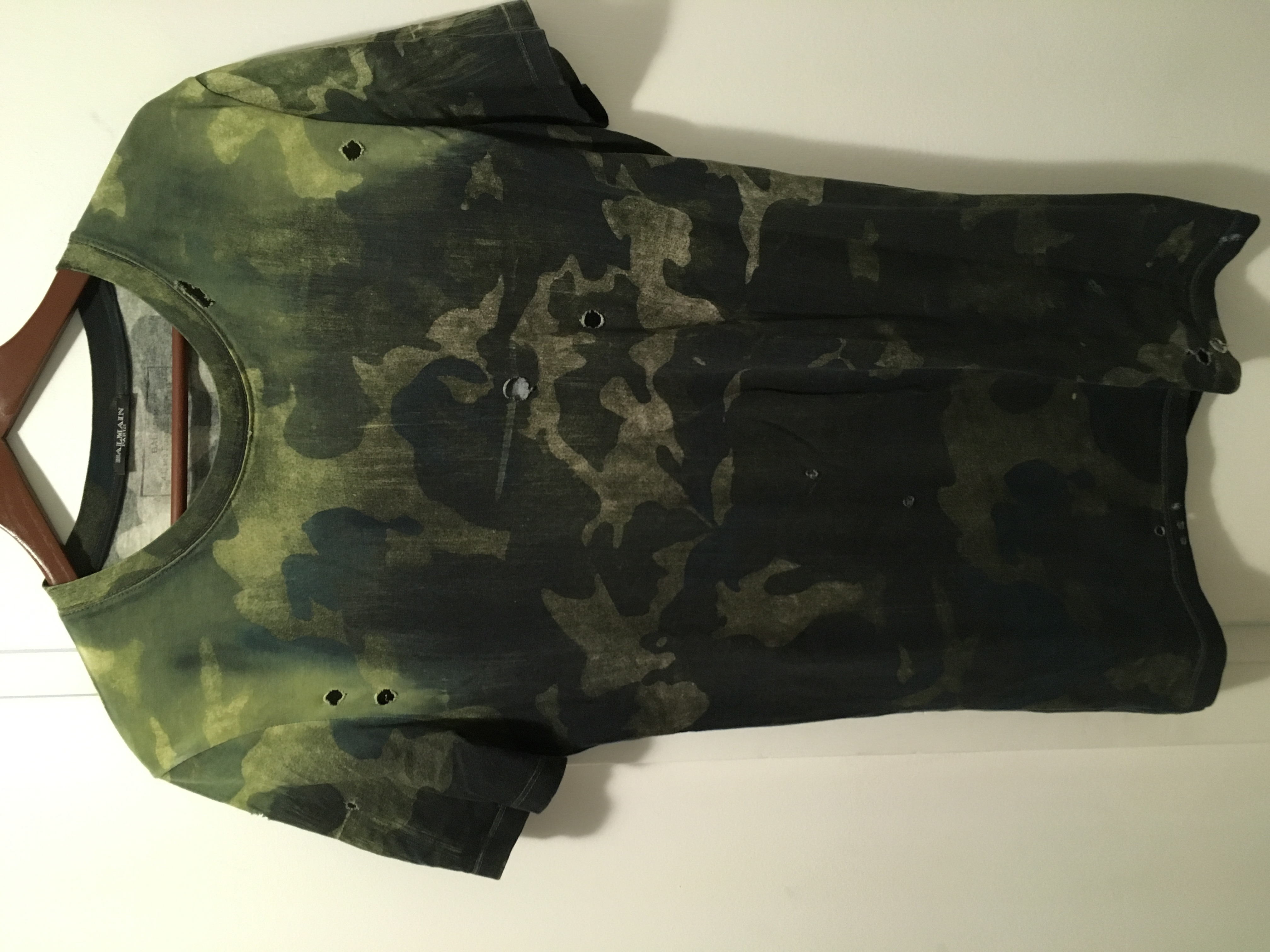 024c84ba Balmain Ss10 Destroyed Camo Tee | Grailed