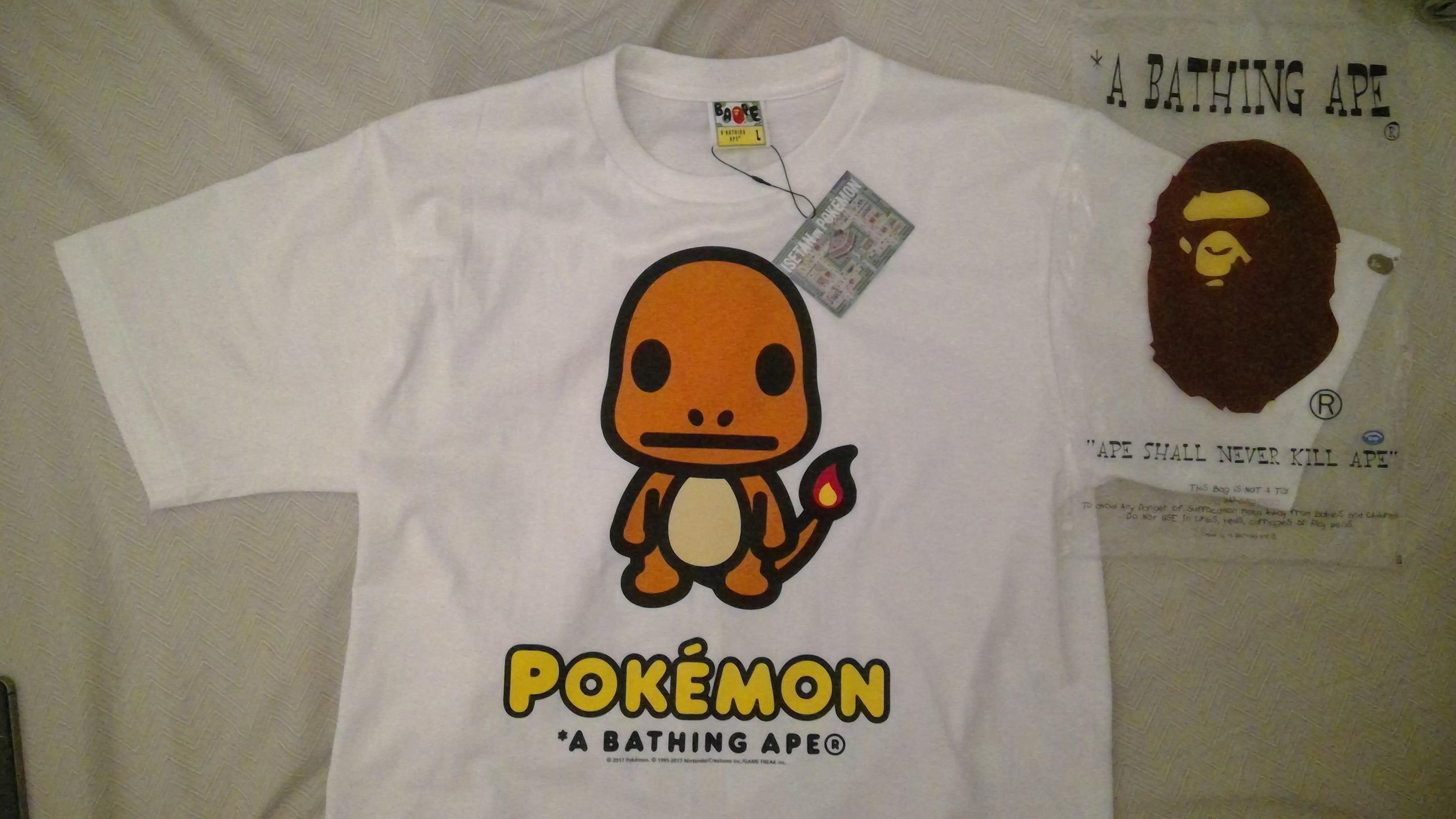 * A BATHING APE Pokemon COLLECTION Men/'s BAPE x POKEMON TEE #2 2color Mankey New
