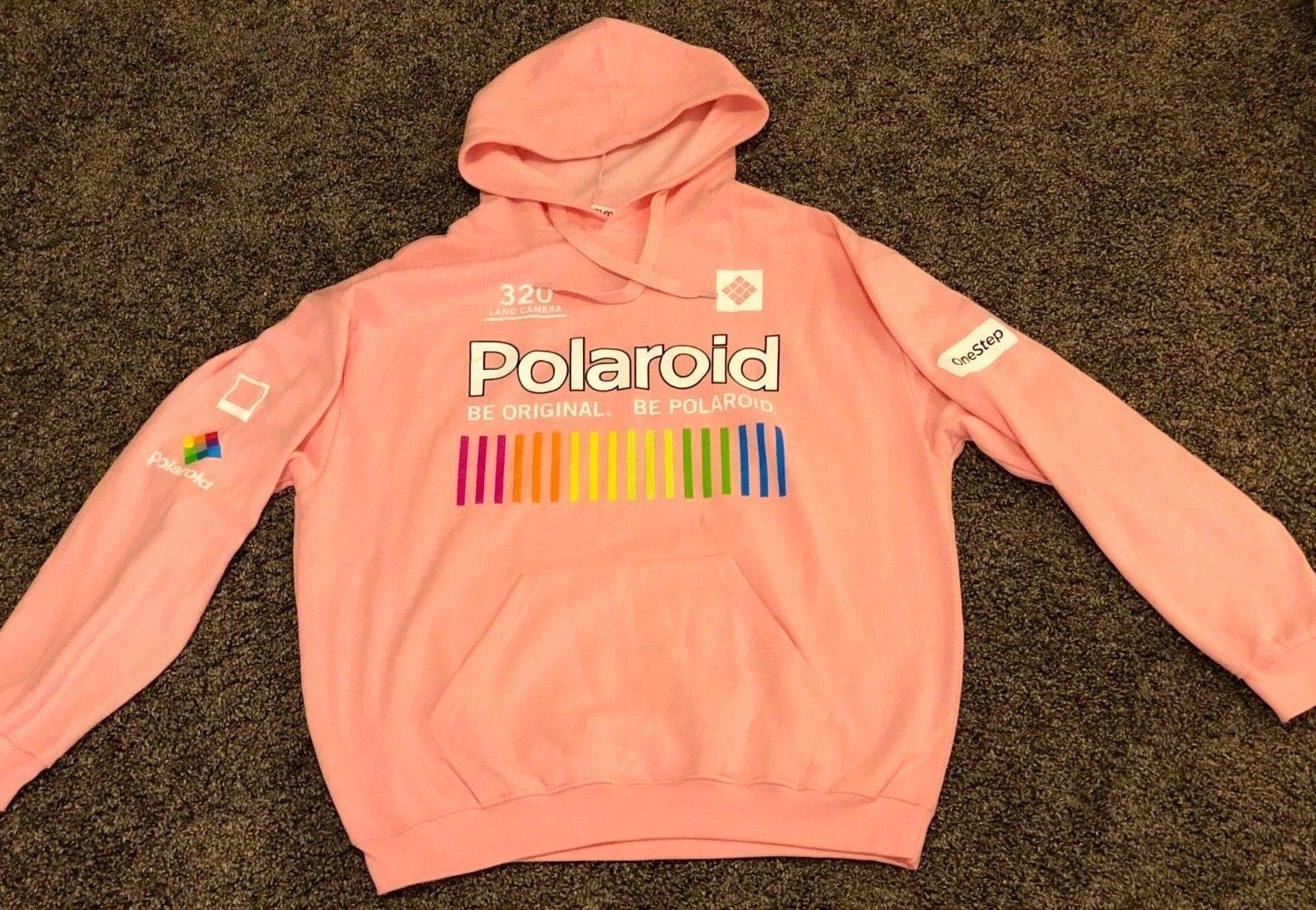 50dbbacbb2 POLAROID Vintage Retro Vaporwave Pink Rainbow Design Onestep Hoodie - LARGE