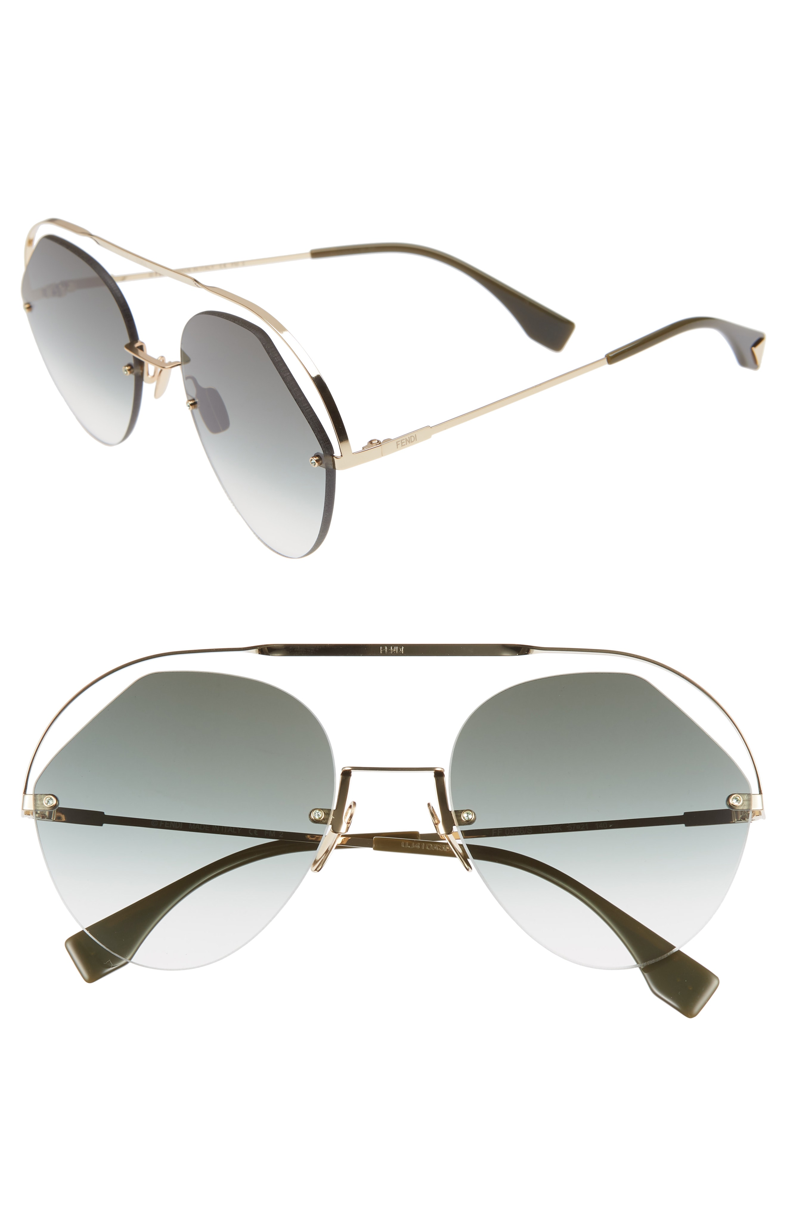 a3013dc2905 Fendi NEW Fendi 0326 S Ribbons   Crystals Green Gradient Cutout Round  Sunglasses Size one size - Sunglasses for Sale - Grailed