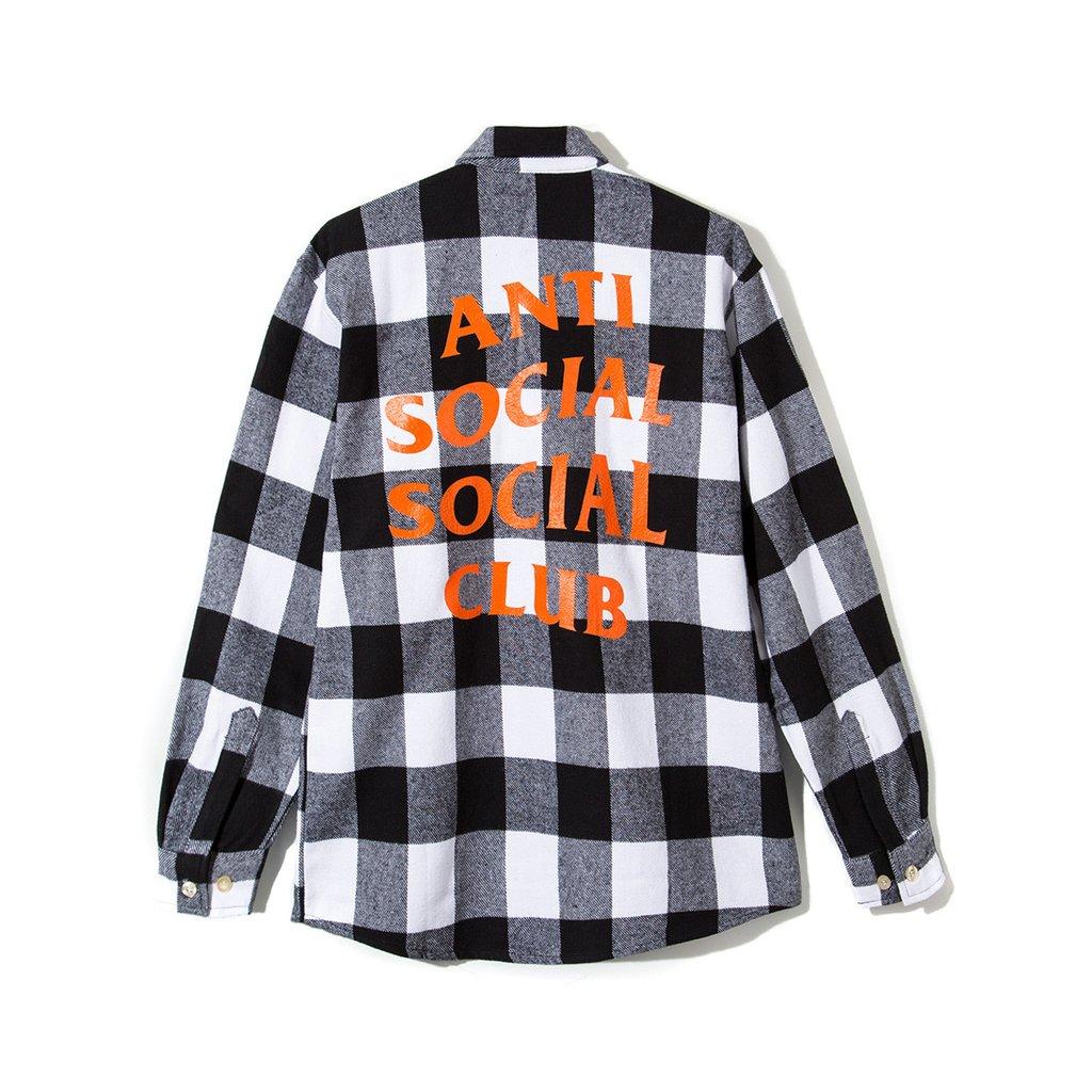 0b7ee7a2fbcc Antisocial Social Club New Anti Social Social Club Logo Plaid Park Flannel  Shirt L