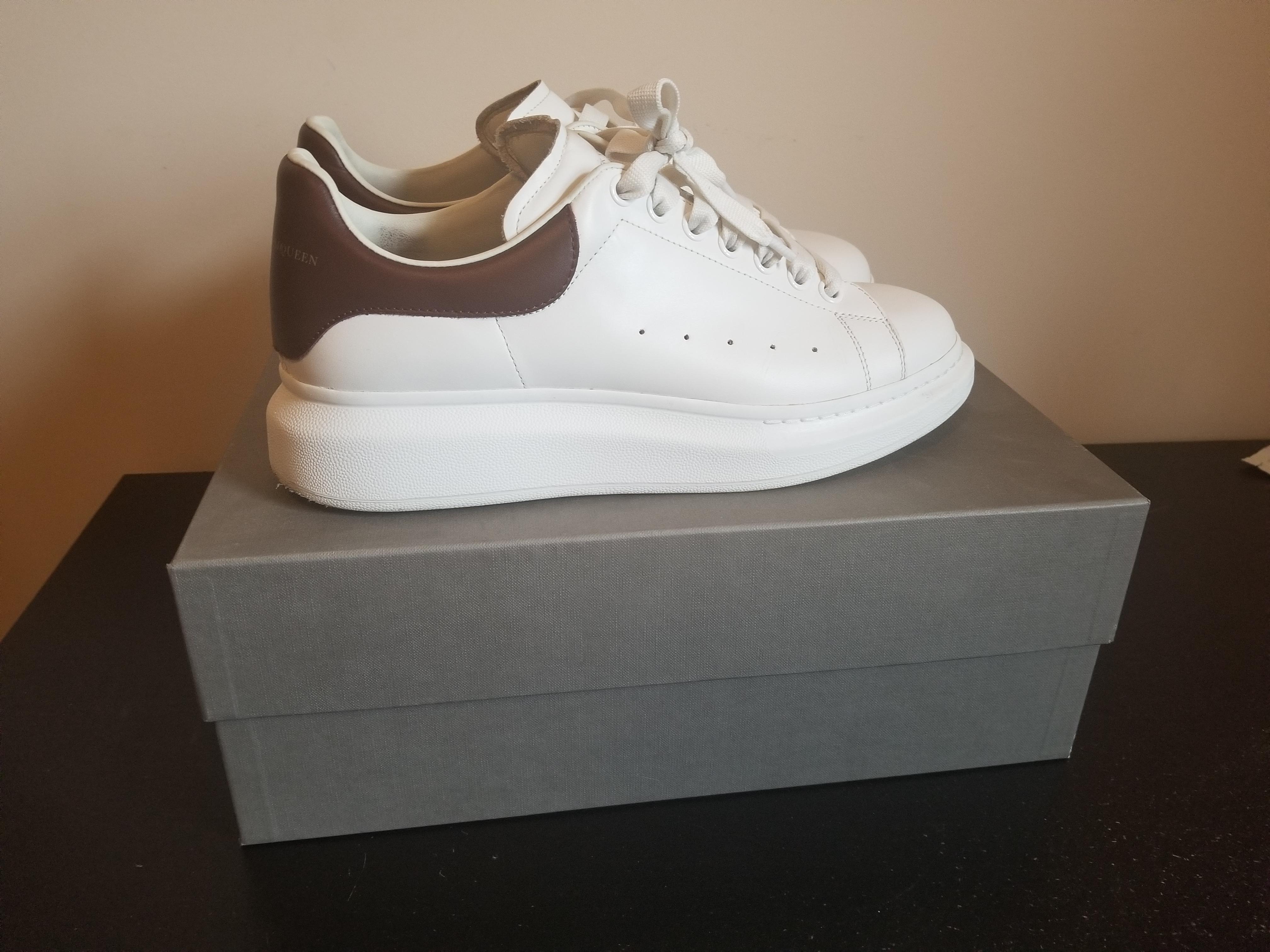 White & Burgundy Oversized Sneakers