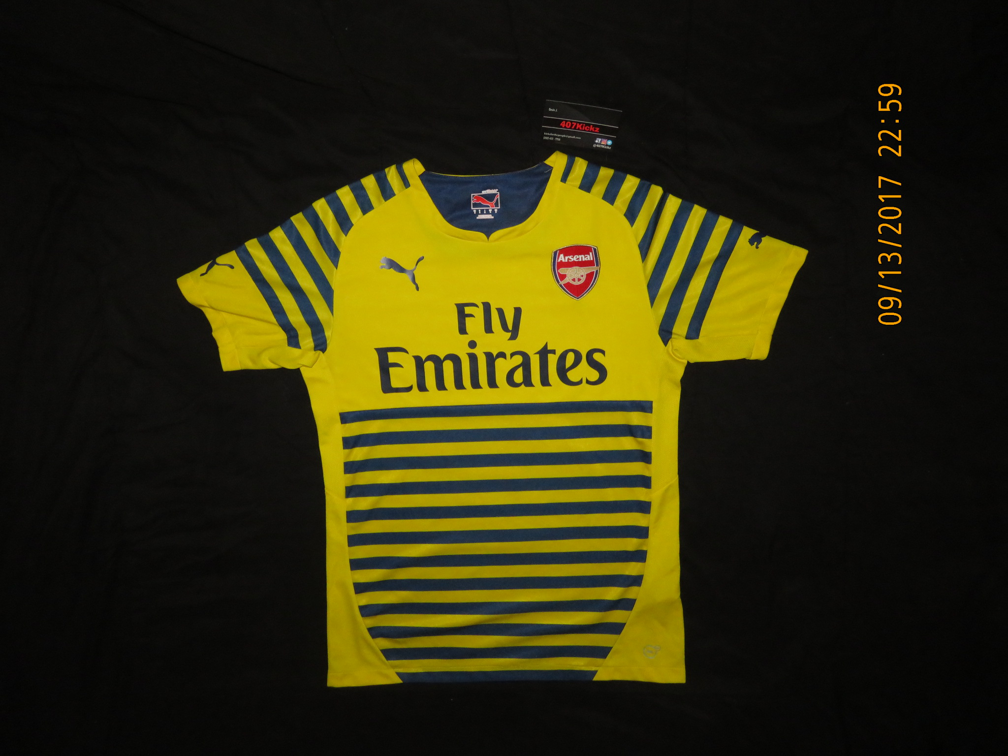 6855efdf13231 Puma Arsenal Fly Emirates Yellow Striped Soccer Jersey Size s - Jerseys for  Sale - Grailed