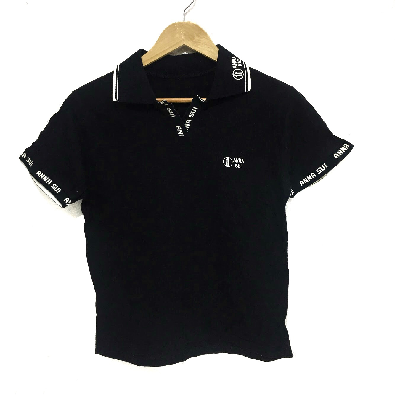 Anna Sui Anna Sui Polo Tee Shirt Spell Out Logo Solid Black Casual