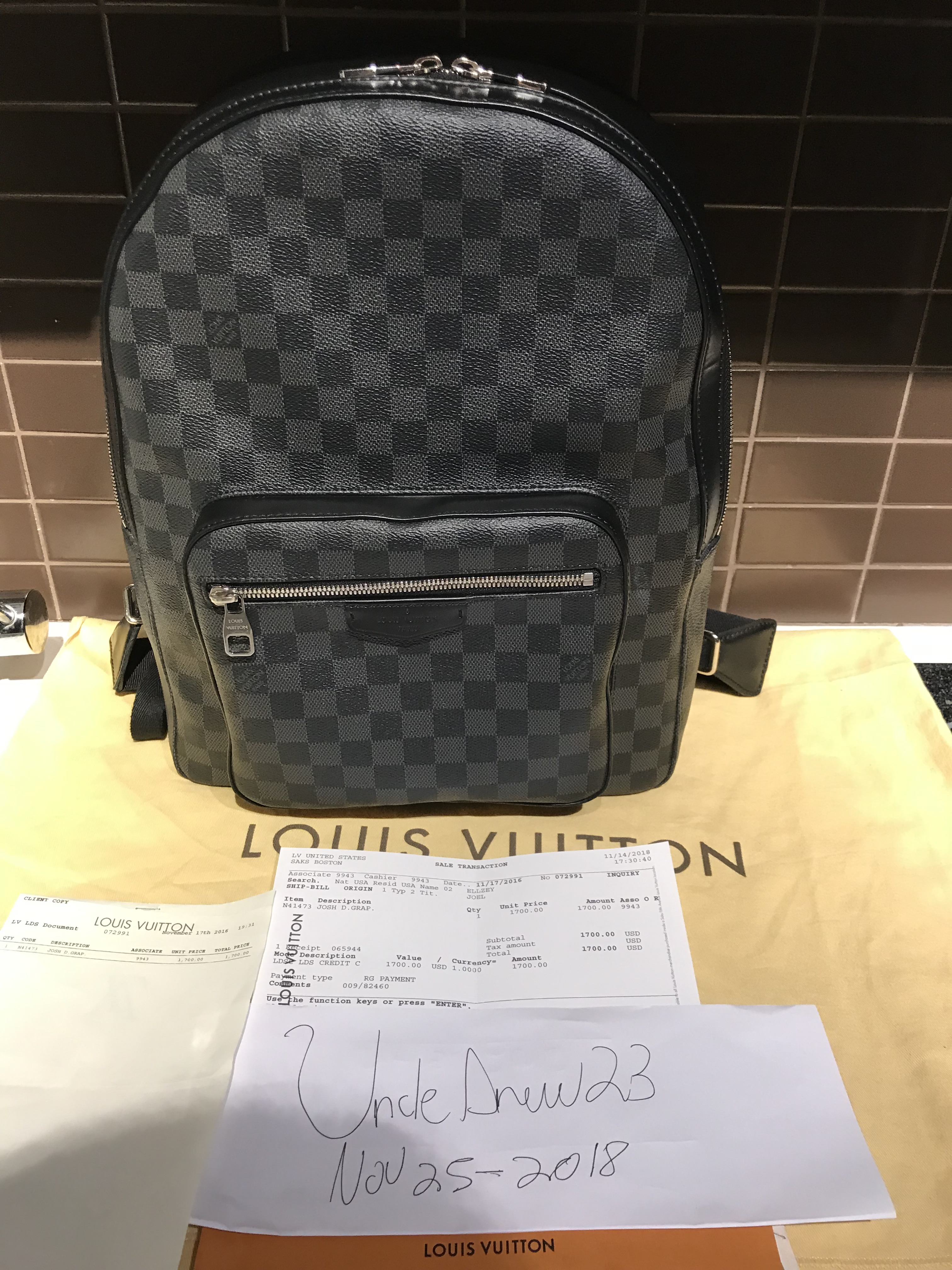 aaea2a8b7307 Louis Vuitton ×. Josh Damier Graphite Canvas Backpack