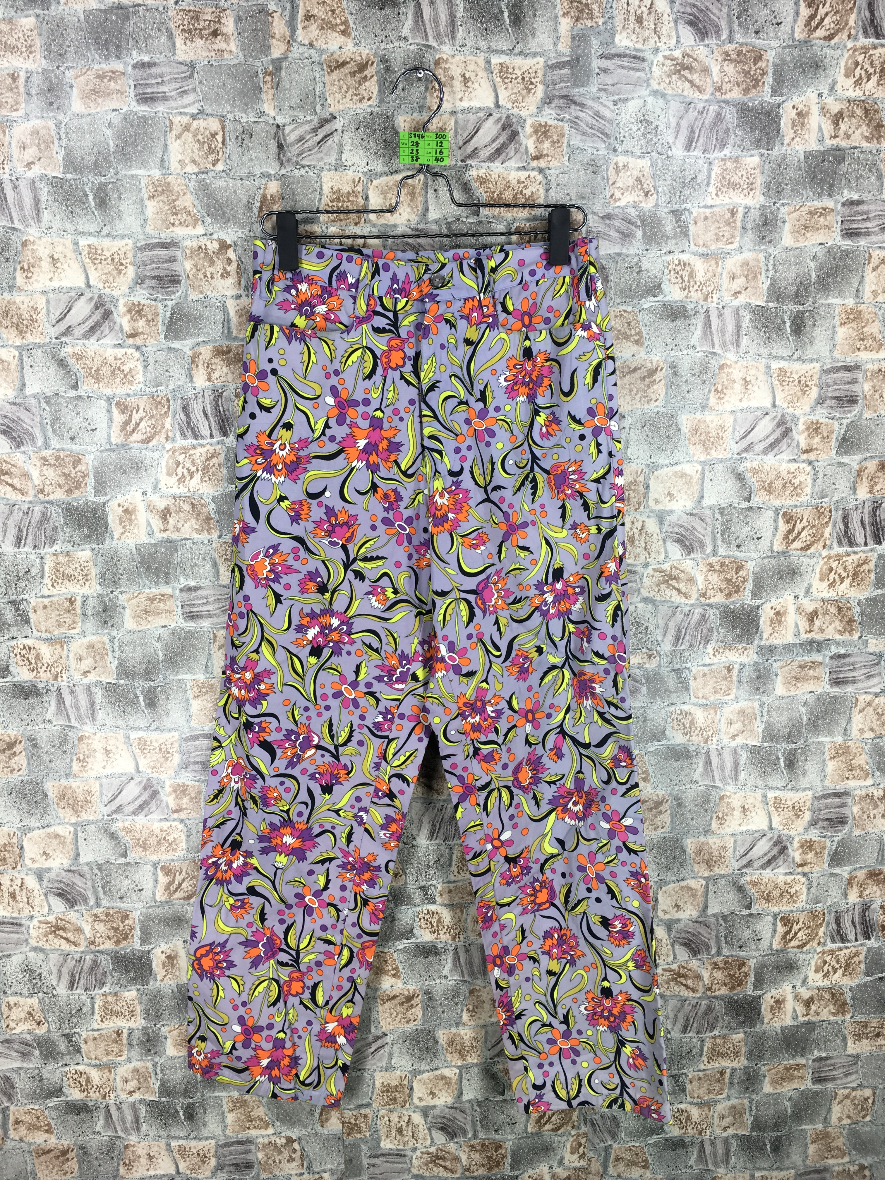 sports shoes 3c104 fcf39 EMILIO PUCCI FIRENZE Made In Italy Floral Multicolour Pop Art Pants Waist 28