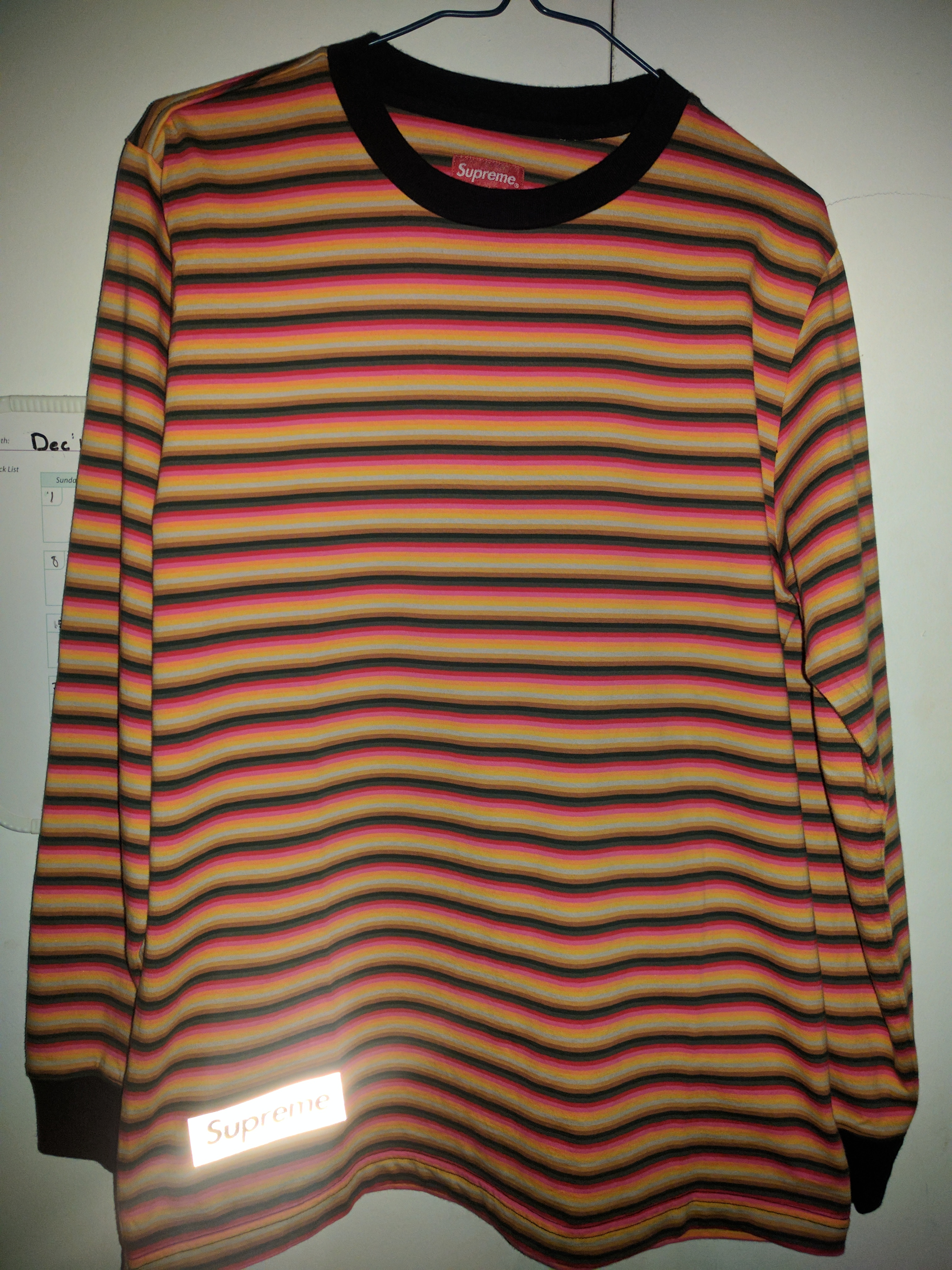 aca4a98ac4 Supreme ×. Supreme multi stripe long sleeve t-shirt with embroidered 3M  Supreme logo patch