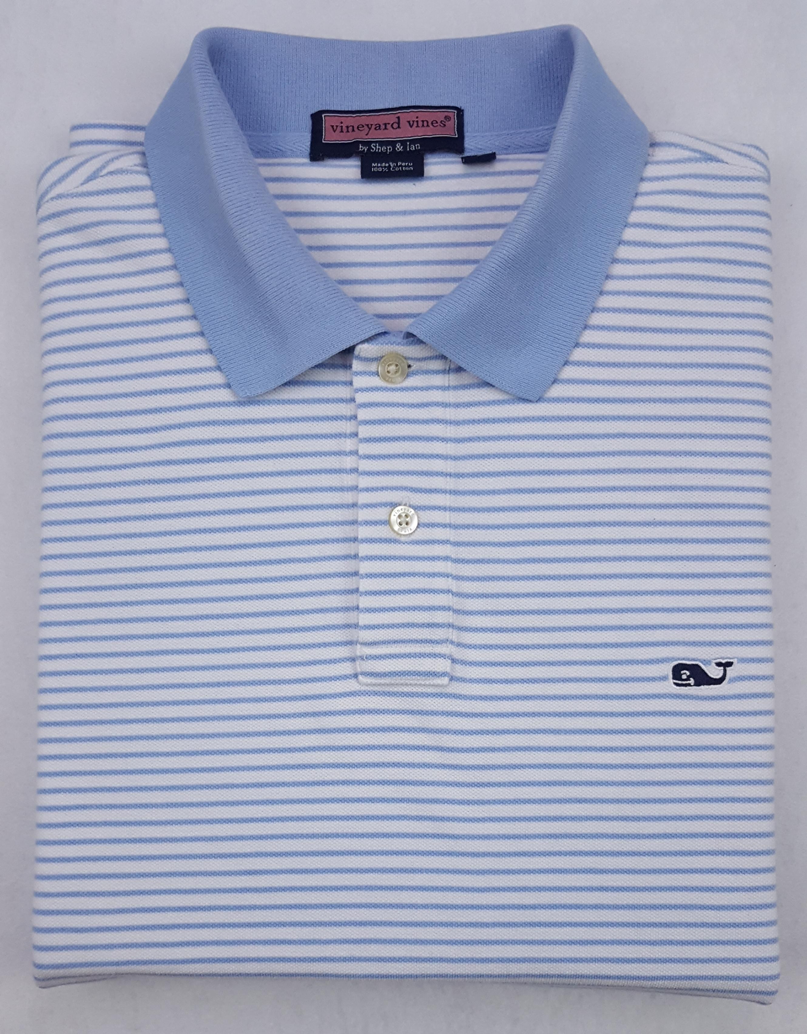 Vineyard Vines Vineyard Vines Whale Polo Shirt Large Striped Blue