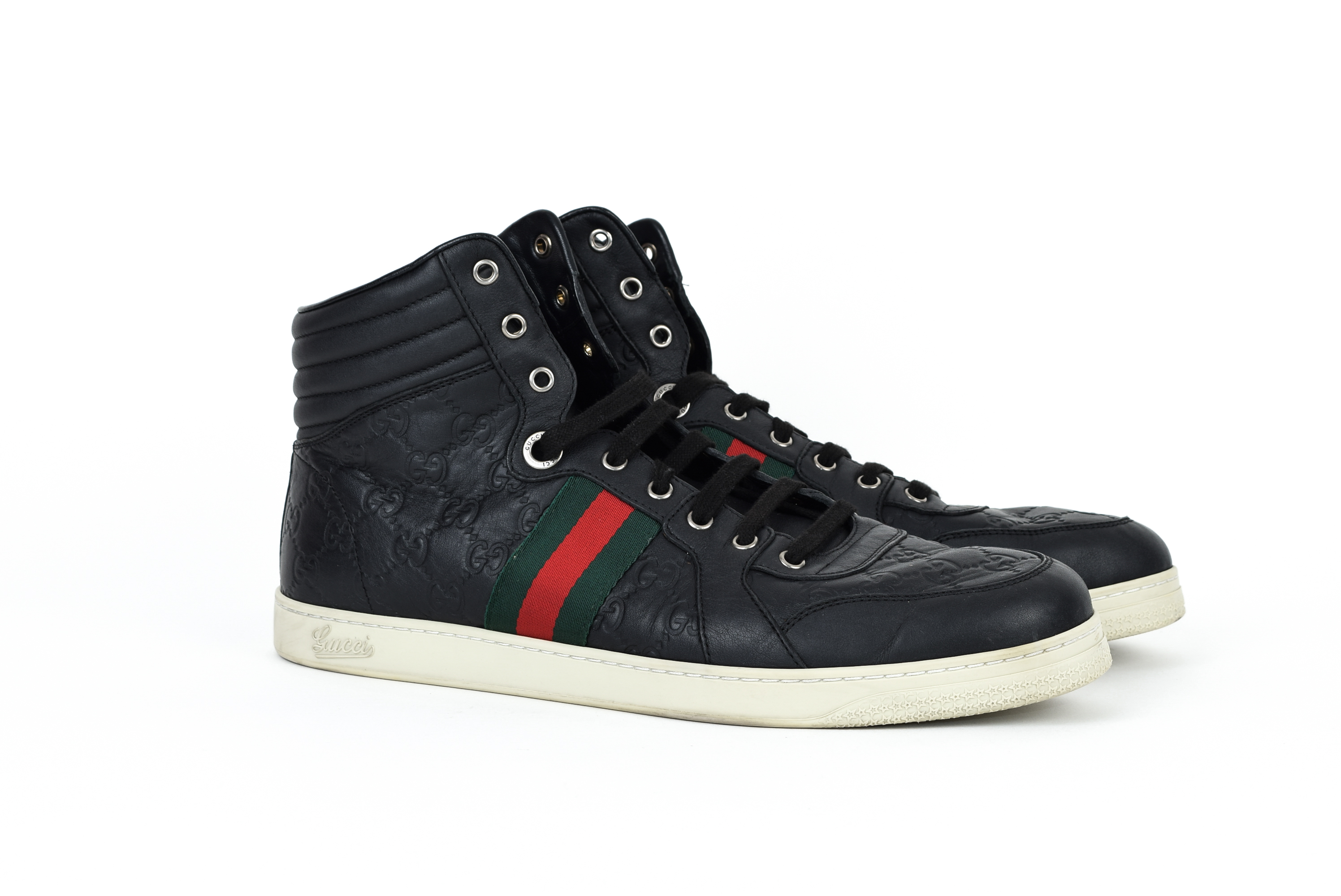 cd54659f7 Gucci ×. Gucci Guccissima High Top Sneakers Shoes Red Green Web Stripe GG  Monogram Logo Leather Black ...