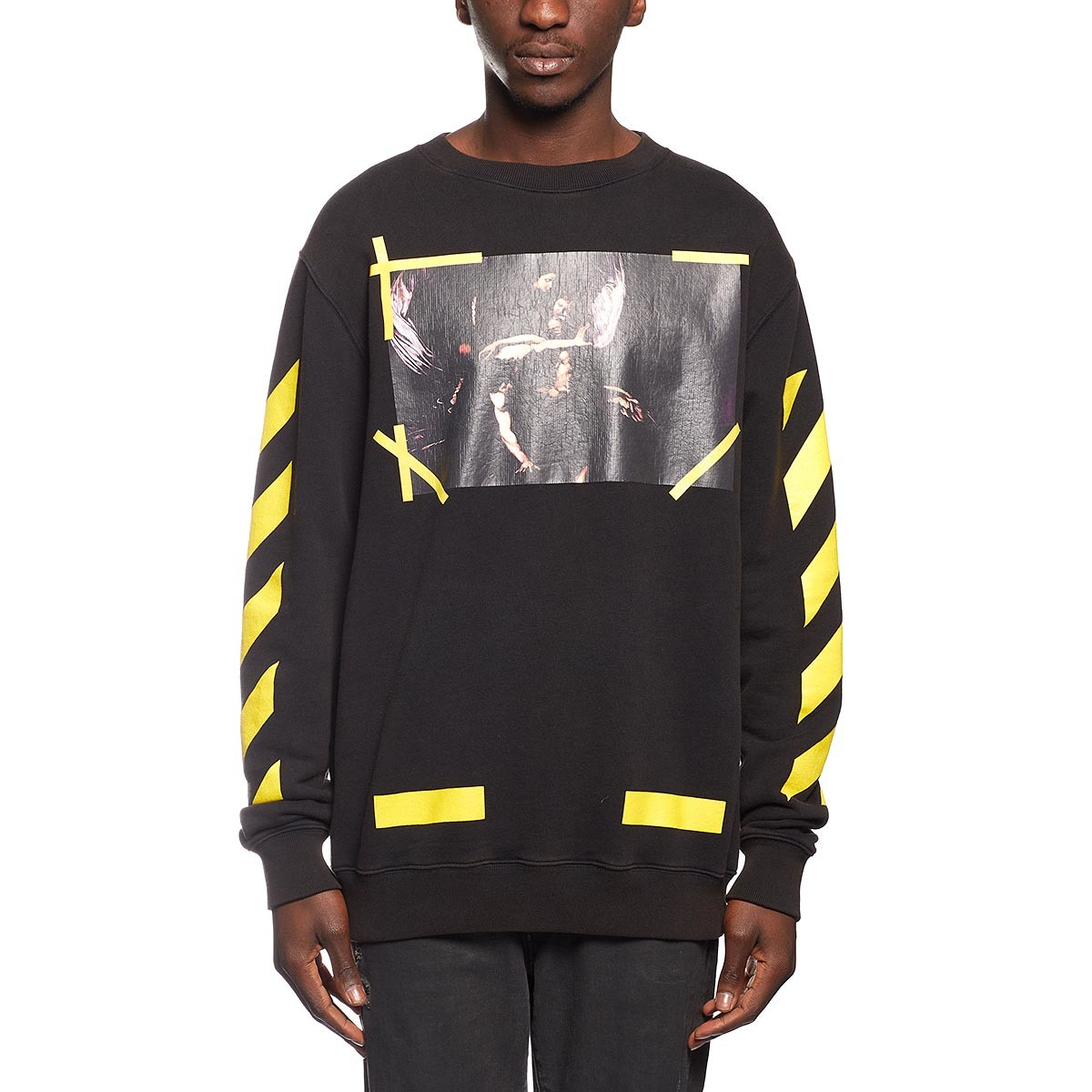 c8c272d6 Off-White ×. Off-White By Virgil Abloh 7 Opere Brushed Diagonals Caravaggio  Crewneck Sweatshirt In Black