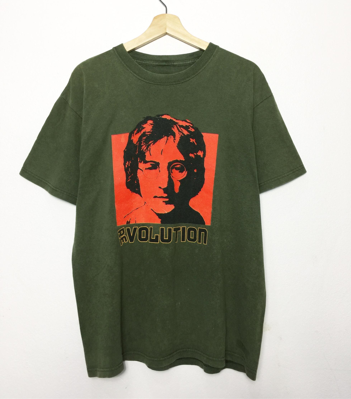 Rare!! Vintage John Lennon T-shirt Big Print John Lennon The Beatles Band Music Pop Rock Ballads White Shirt