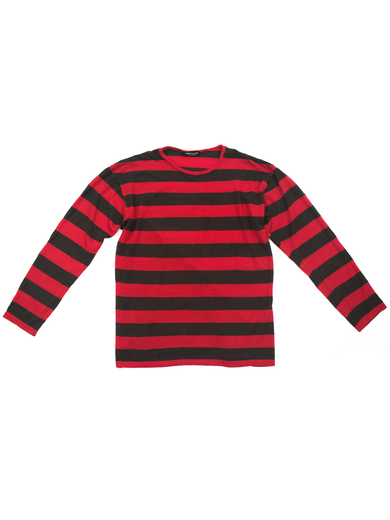 """4ec120aab84a Undercover AW1997 """"LEAF"""" RED   BLACK STRIPED LONG SLEEVE SHIRT Size ..."""