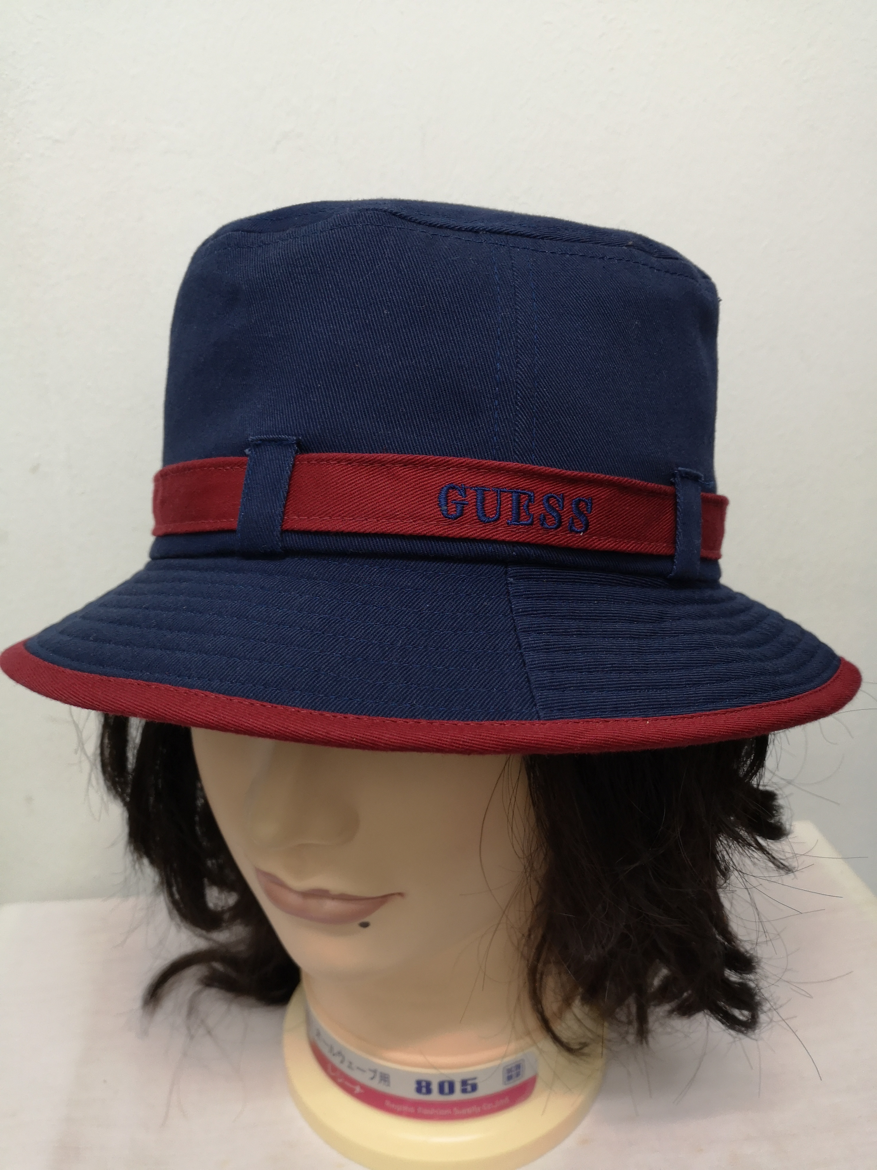 Guess Hat Vintage Guess Bucket Hat Vintage 90s Guess Bucket Solid Wool Polyester Red Designer Winter Cap Head Gear