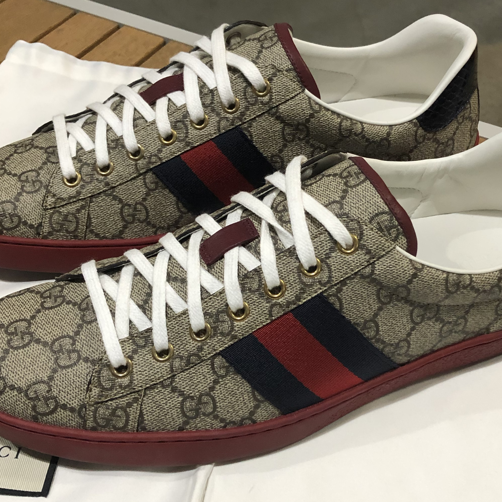 38a3f31bede Gucci Gucci New Ace Webbed Low Top Sneakers - Like New!