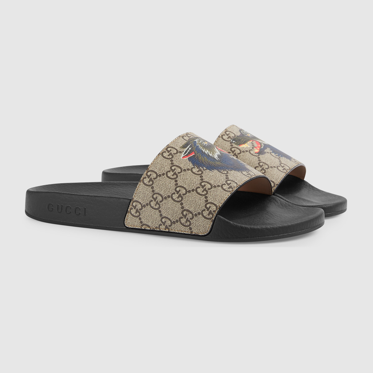 c1ff560df75ff Gucci GG Supreme slide with wolf Size 10 - Slip Ons for Sale - Grailed